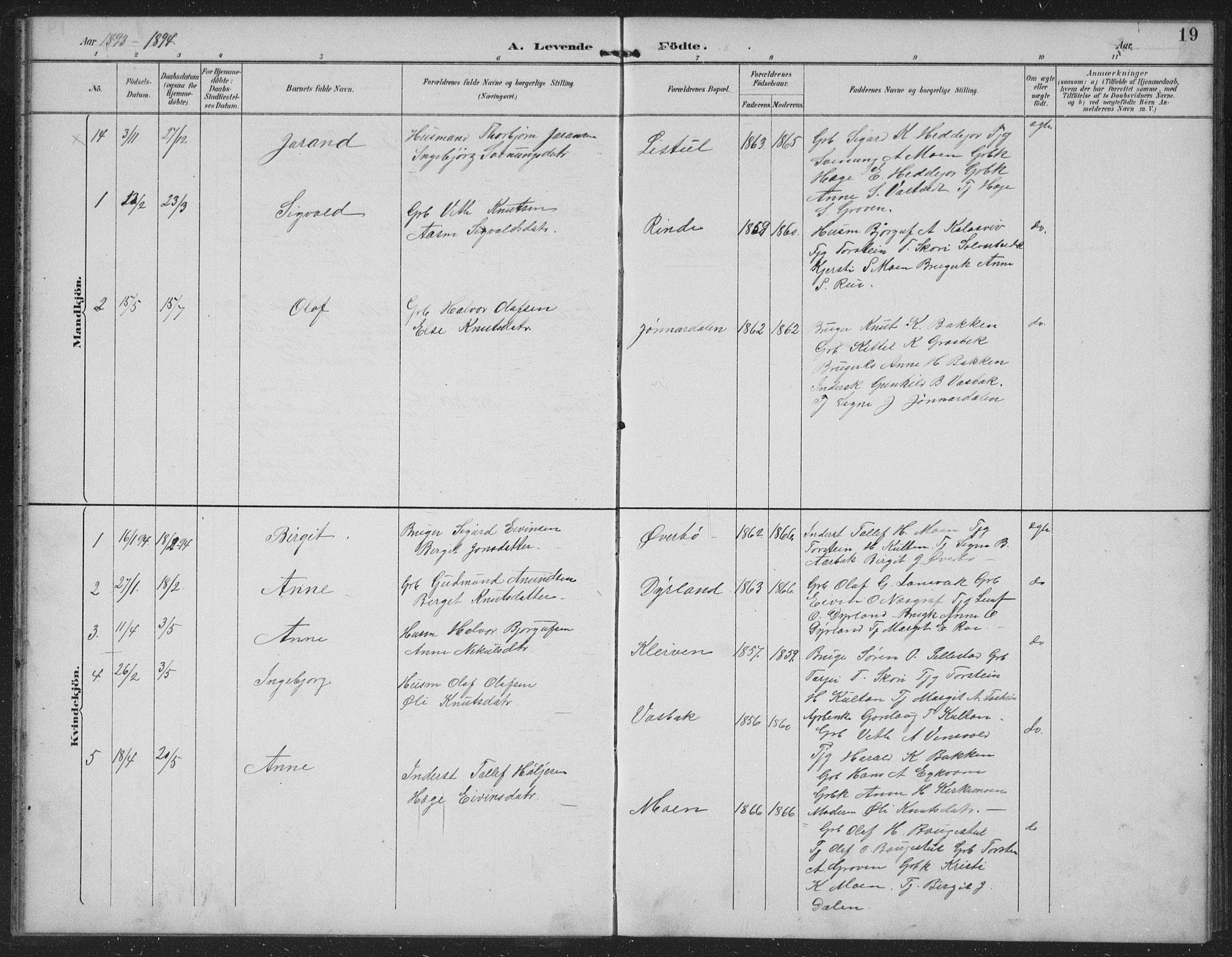 SAKO, Seljord kirkebøker, G/Gc/L0003: Klokkerbok nr. III 3, 1887-1926, s. 19