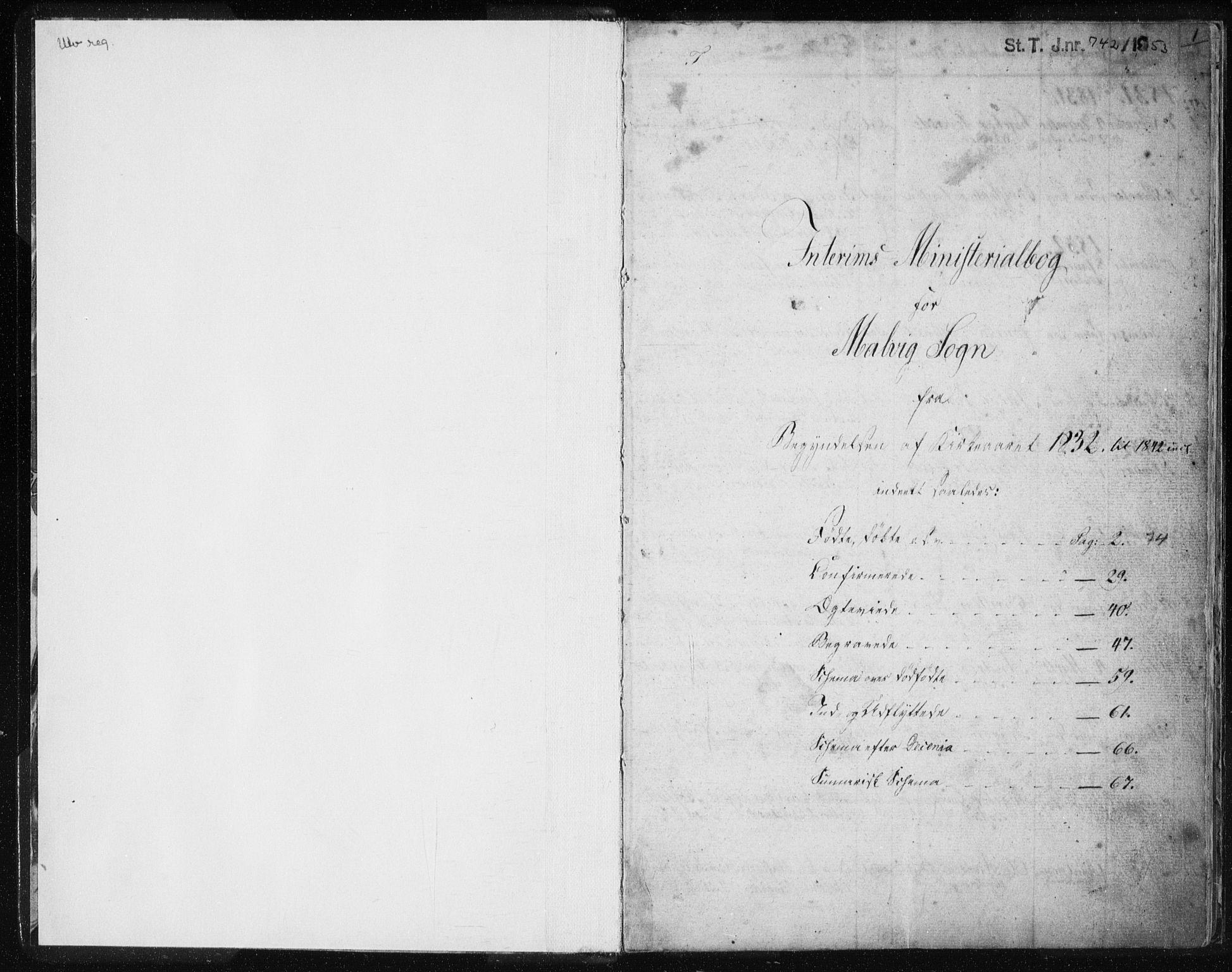 SAT, Ministerialprotokoller, klokkerbøker og fødselsregistre - Sør-Trøndelag, 616/L0405: Ministerialbok nr. 616A02, 1831-1842, s. 1