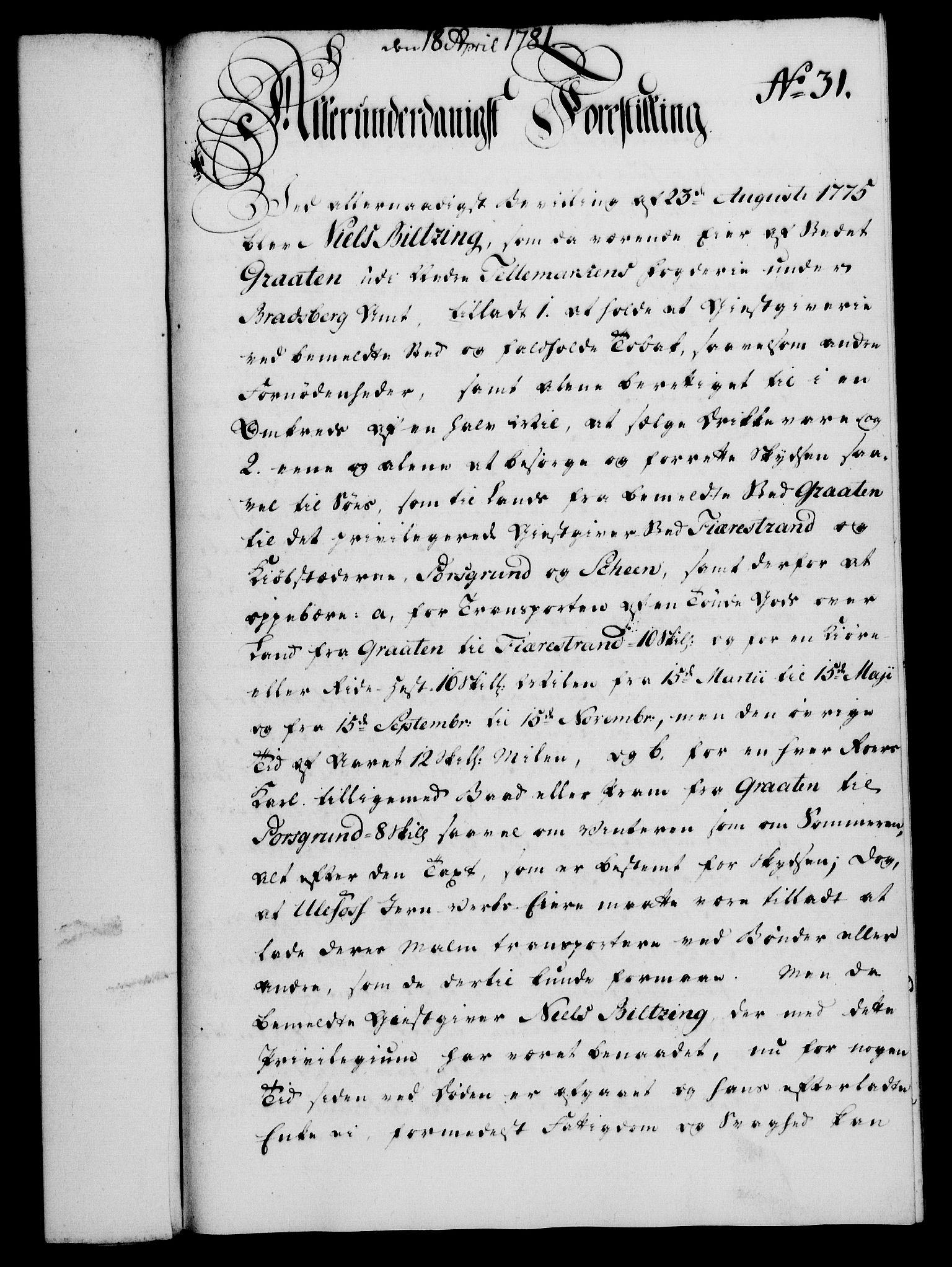 RA, Rentekammeret, Kammerkanselliet, G/Gf/Gfa/L0063: Norsk relasjons- og resolusjonsprotokoll (merket RK 52.63), 1781, s. 255