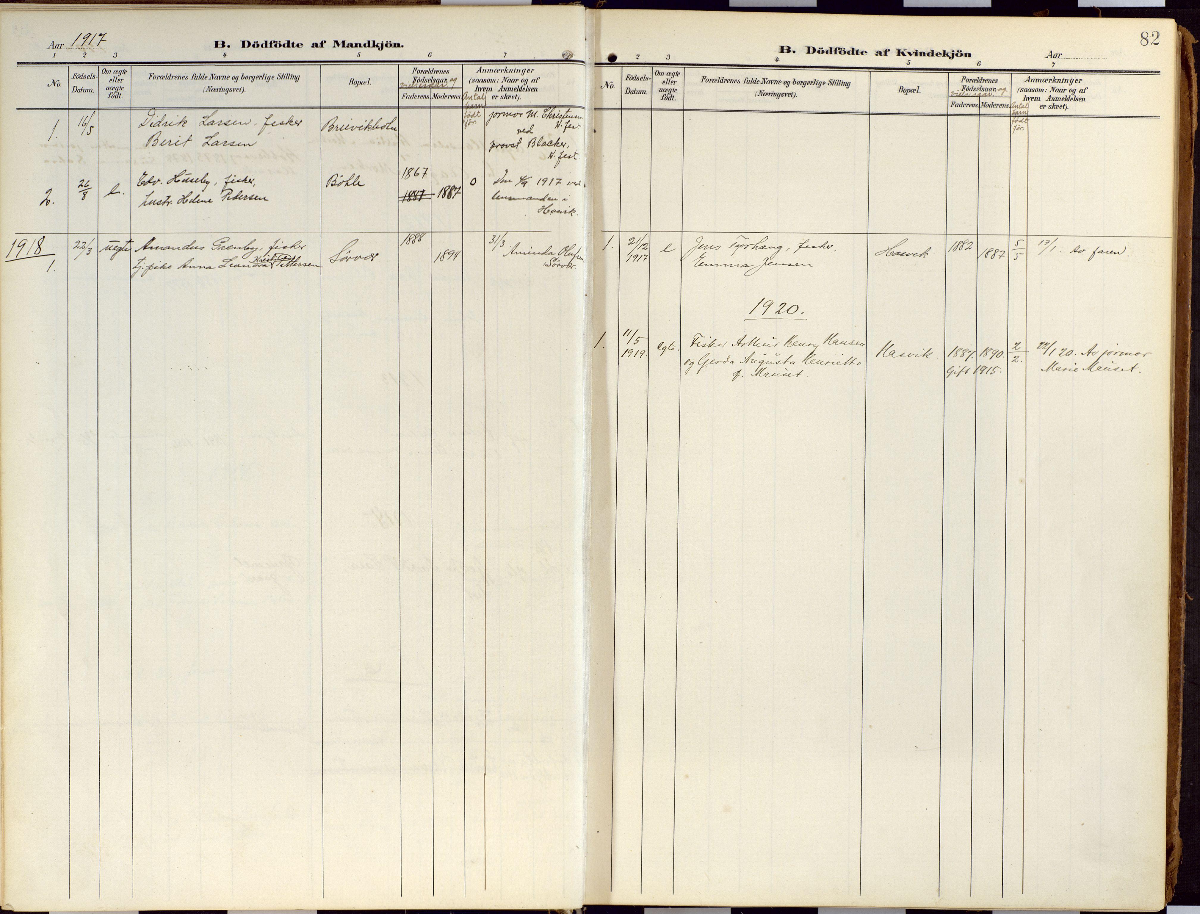 SATØ, Loppa sokneprestkontor, H/Ha/L0010kirke: Ministerialbok nr. 10, 1907-1922, s. 82