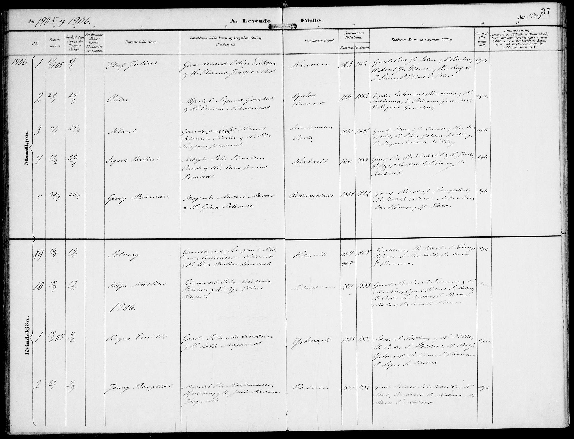 SAT, Ministerialprotokoller, klokkerbøker og fødselsregistre - Nord-Trøndelag, 745/L0430: Ministerialbok nr. 745A02, 1895-1913, s. 37