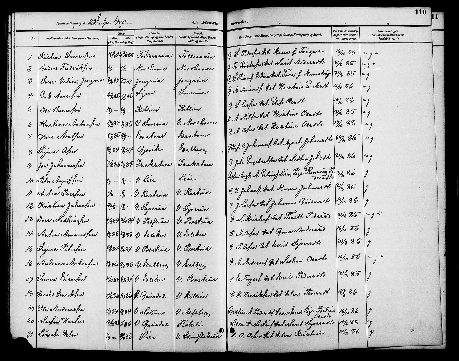 SAH, Fåberg prestekontor, Klokkerbok nr. 10, 1892-1900, s. 110