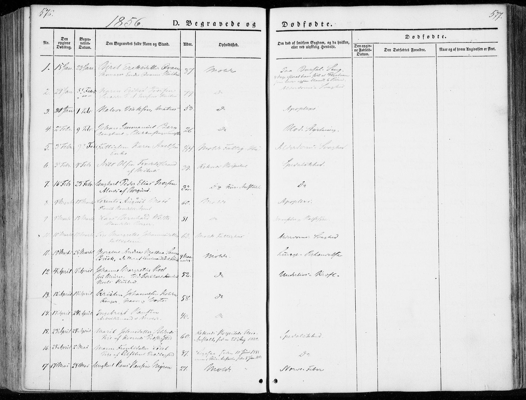 SAT, Ministerialprotokoller, klokkerbøker og fødselsregistre - Møre og Romsdal, 558/L0689: Ministerialbok nr. 558A03, 1843-1872, s. 576-577