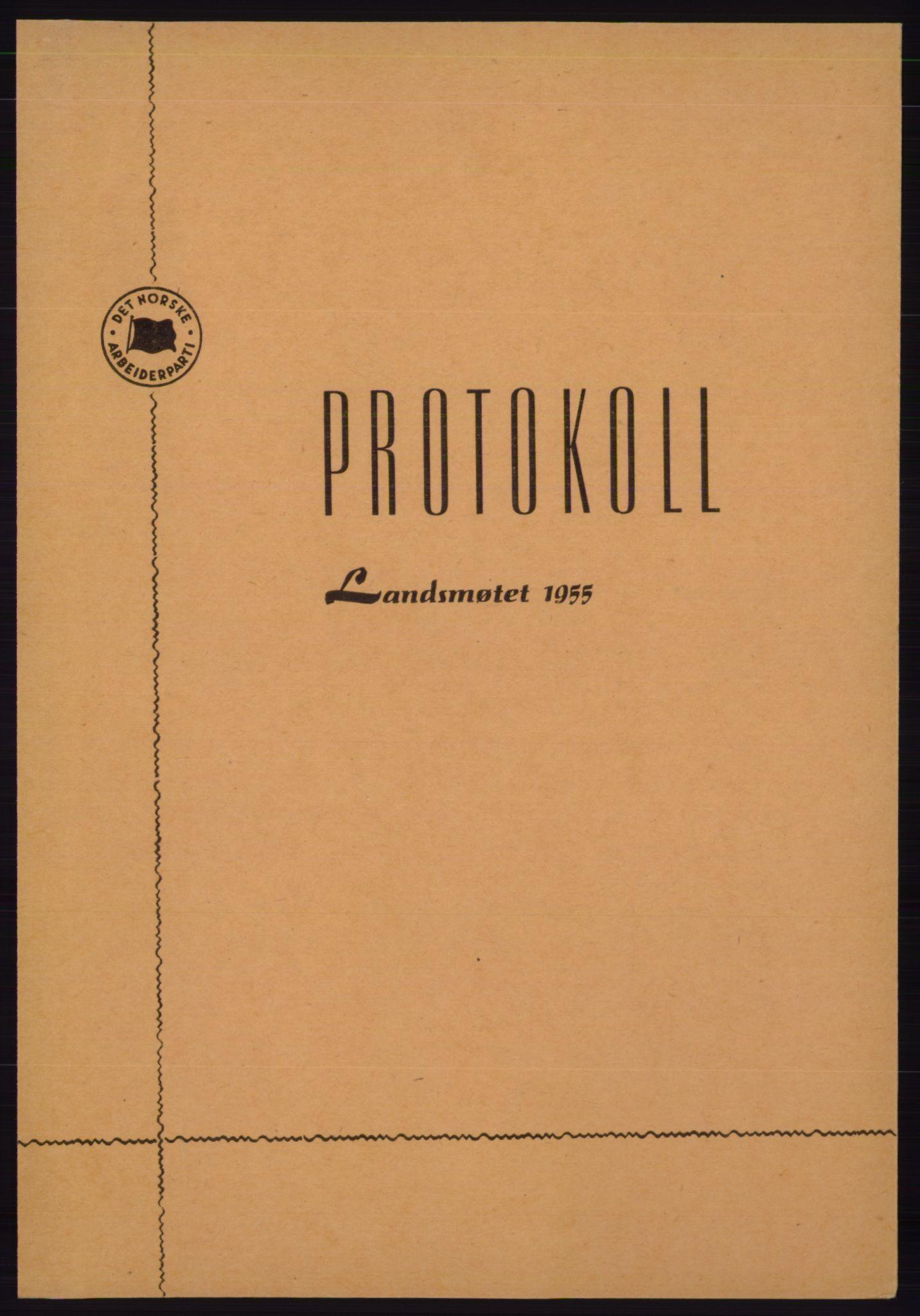 AAB, Det norske Arbeiderparti - publikasjoner, -/-: Protokoll over forhandlingene på det 35. ordinære landsmøte 19.-21. mars 1955 i Oslo, 1955