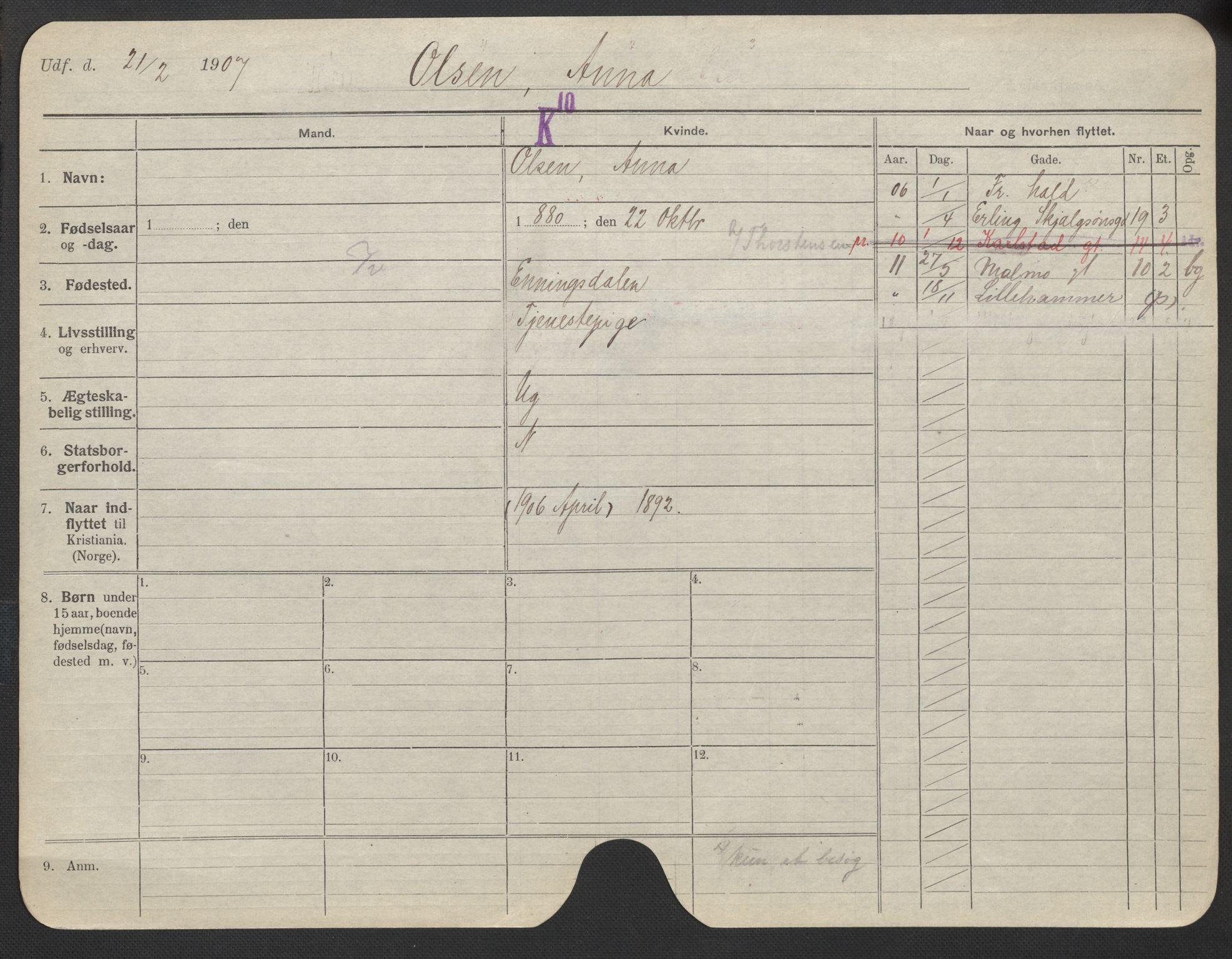 SAO, Oslo folkeregister, Registerkort, F/Fa/Fac/L0021: Kvinner, 1906-1914, s. 851a