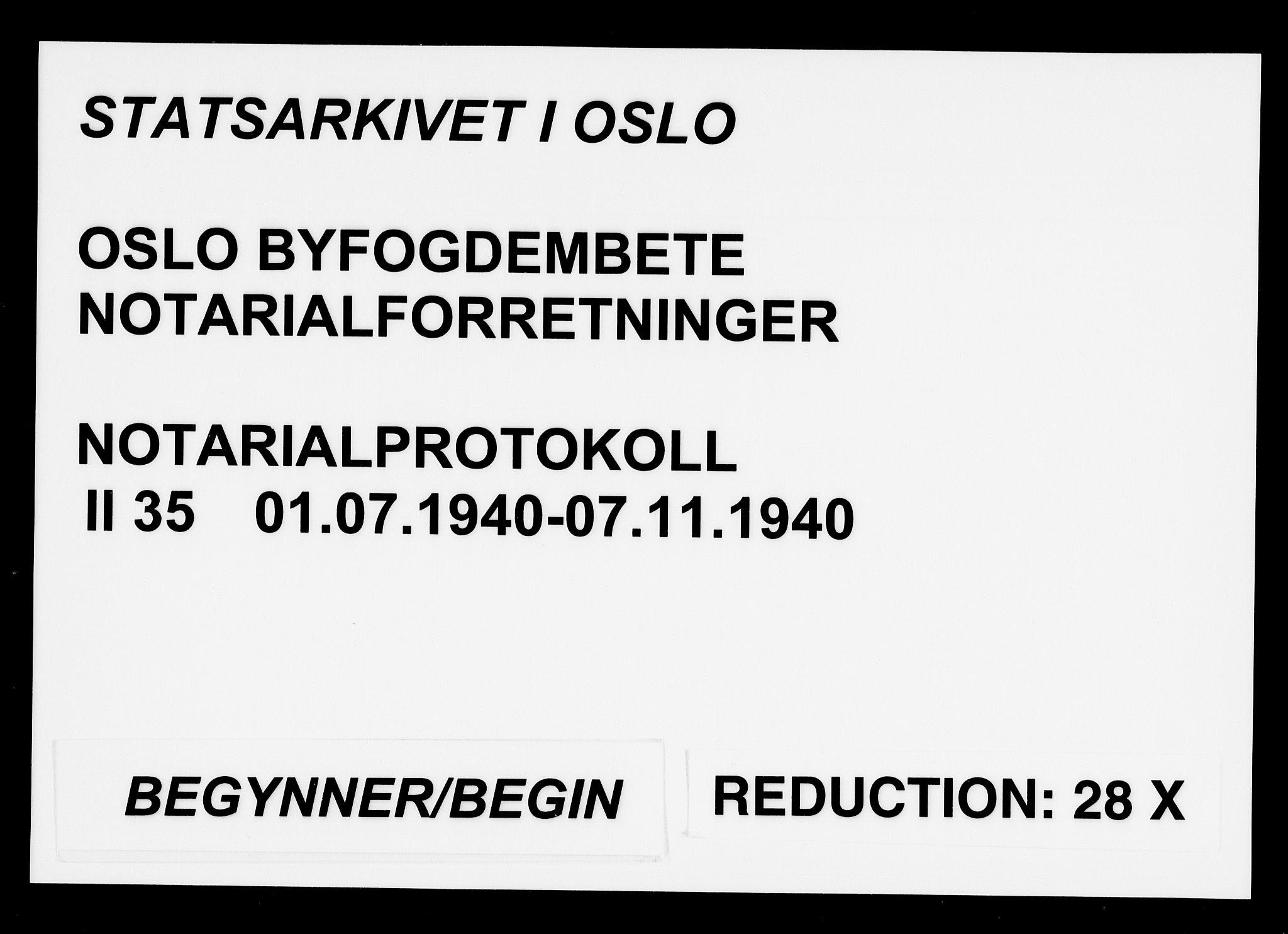 SAO, Oslo byfogd avd. I, L/Lb/Lbb/L0035: Notarialprotokoll, rekke II: Vigsler, 1940, s. upaginert