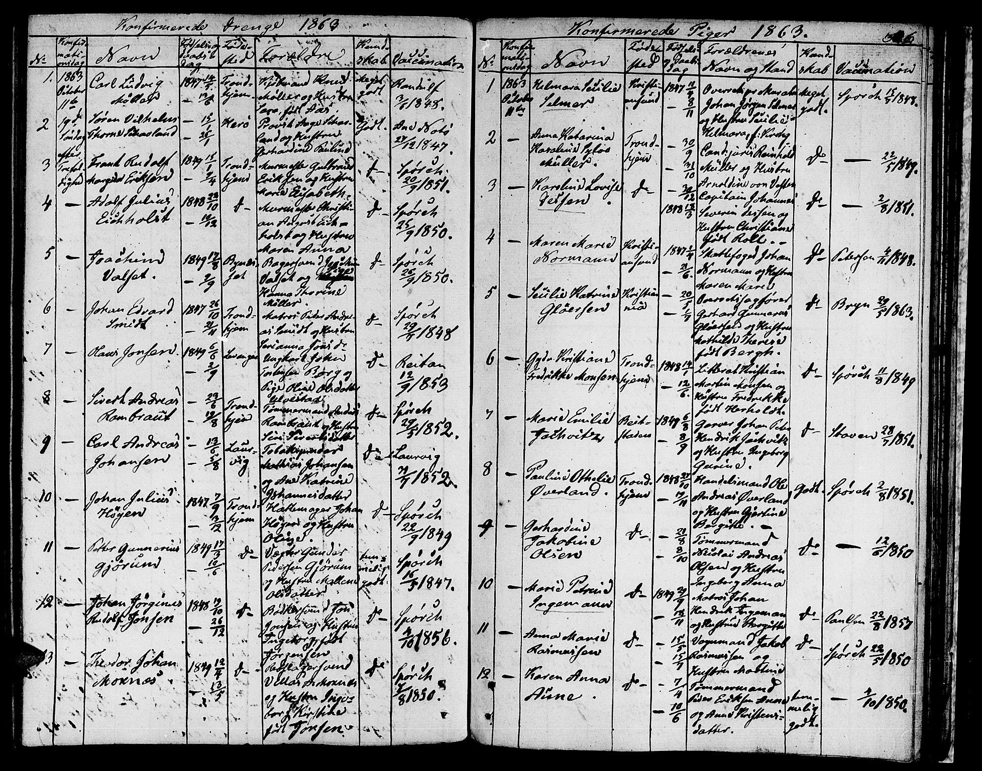 SAT, Ministerialprotokoller, klokkerbøker og fødselsregistre - Sør-Trøndelag, 601/L0070: Residerende kapellans bok nr. 601B03, 1821-1881, s. 306