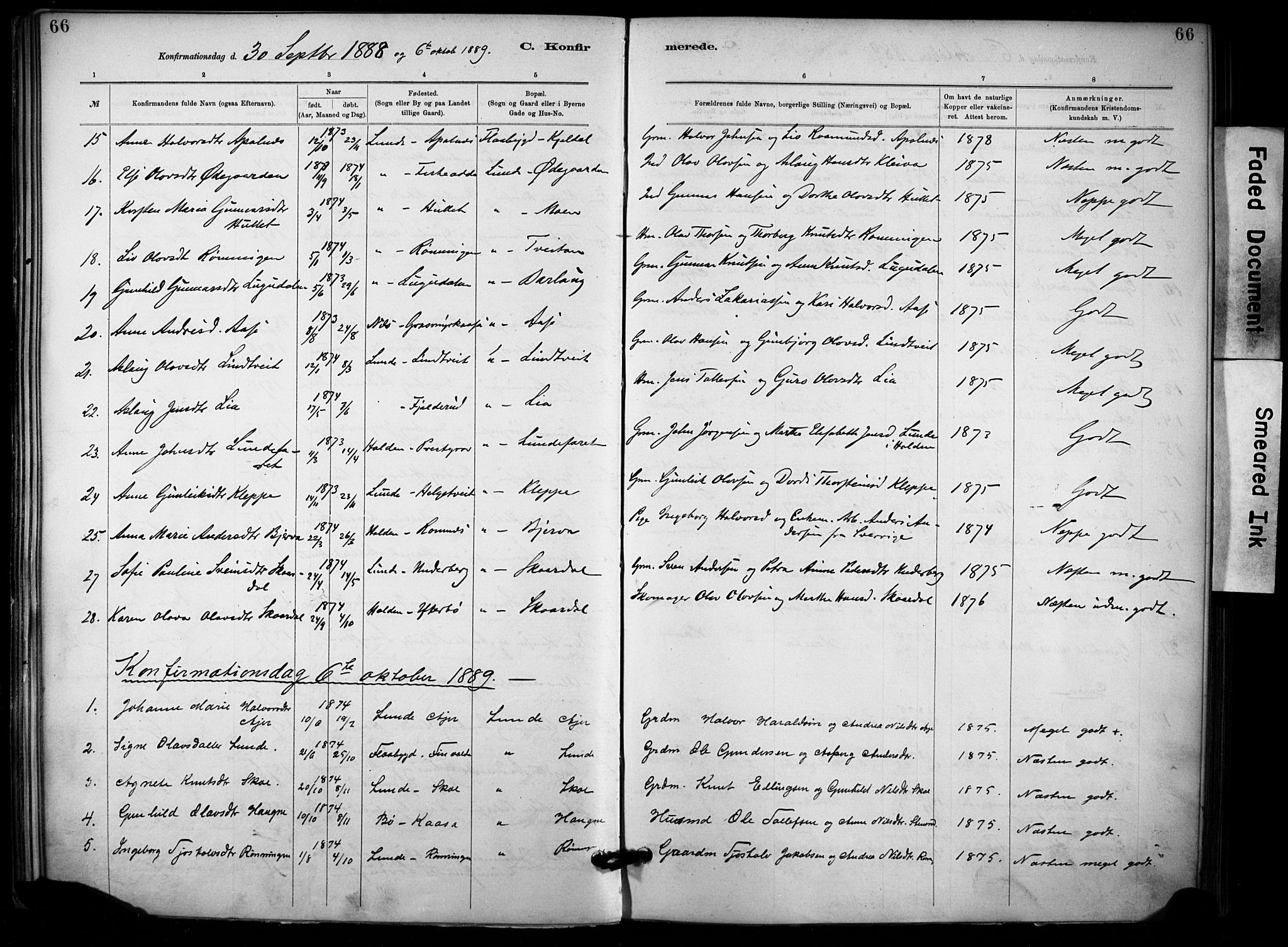 SAKO, Lunde kirkebøker, F/Fa/L0002: Ministerialbok nr. I 2, 1884-1892, s. 66