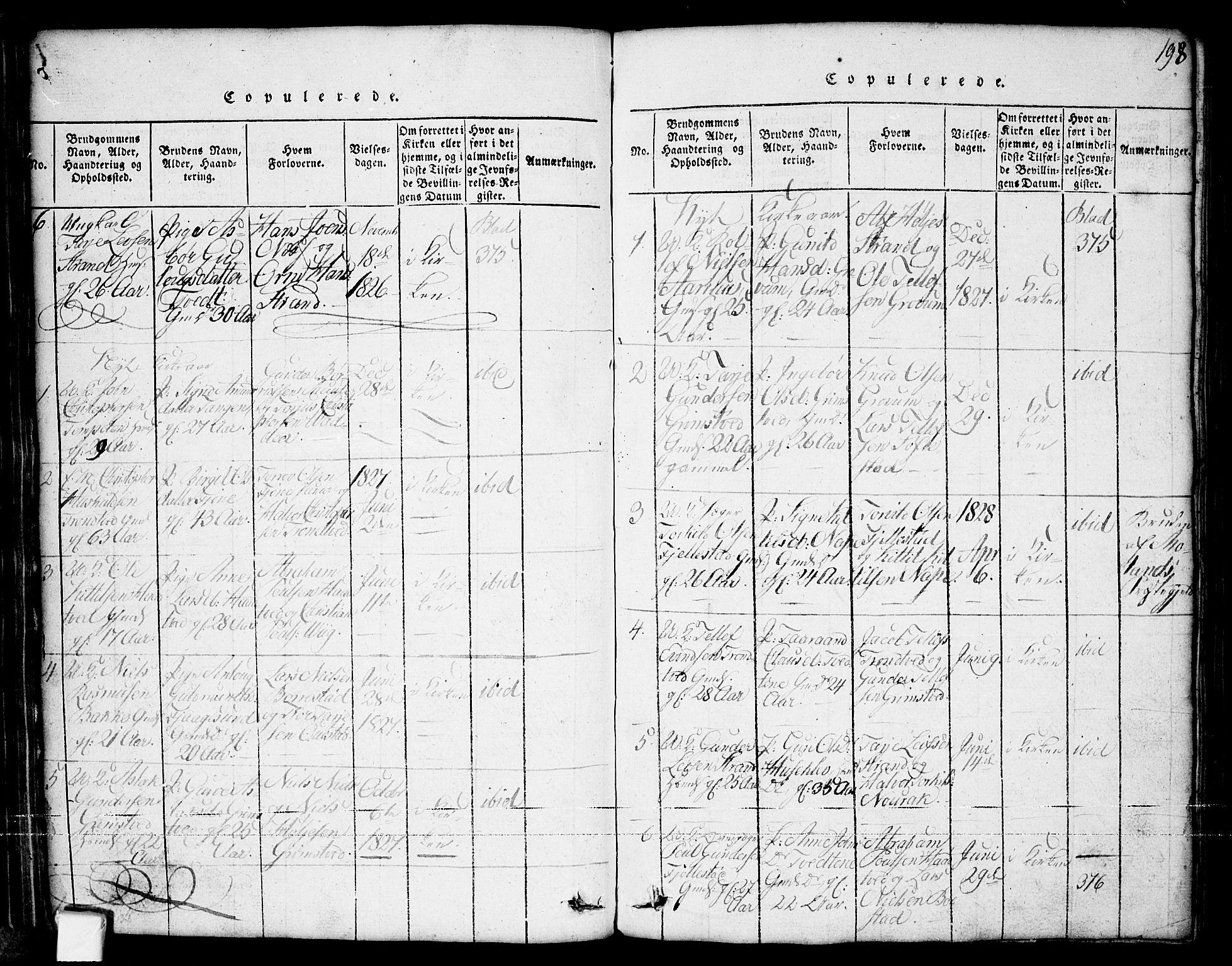 SAKO, Nissedal kirkebøker, G/Ga/L0001: Klokkerbok nr. I 1, 1814-1860, s. 198
