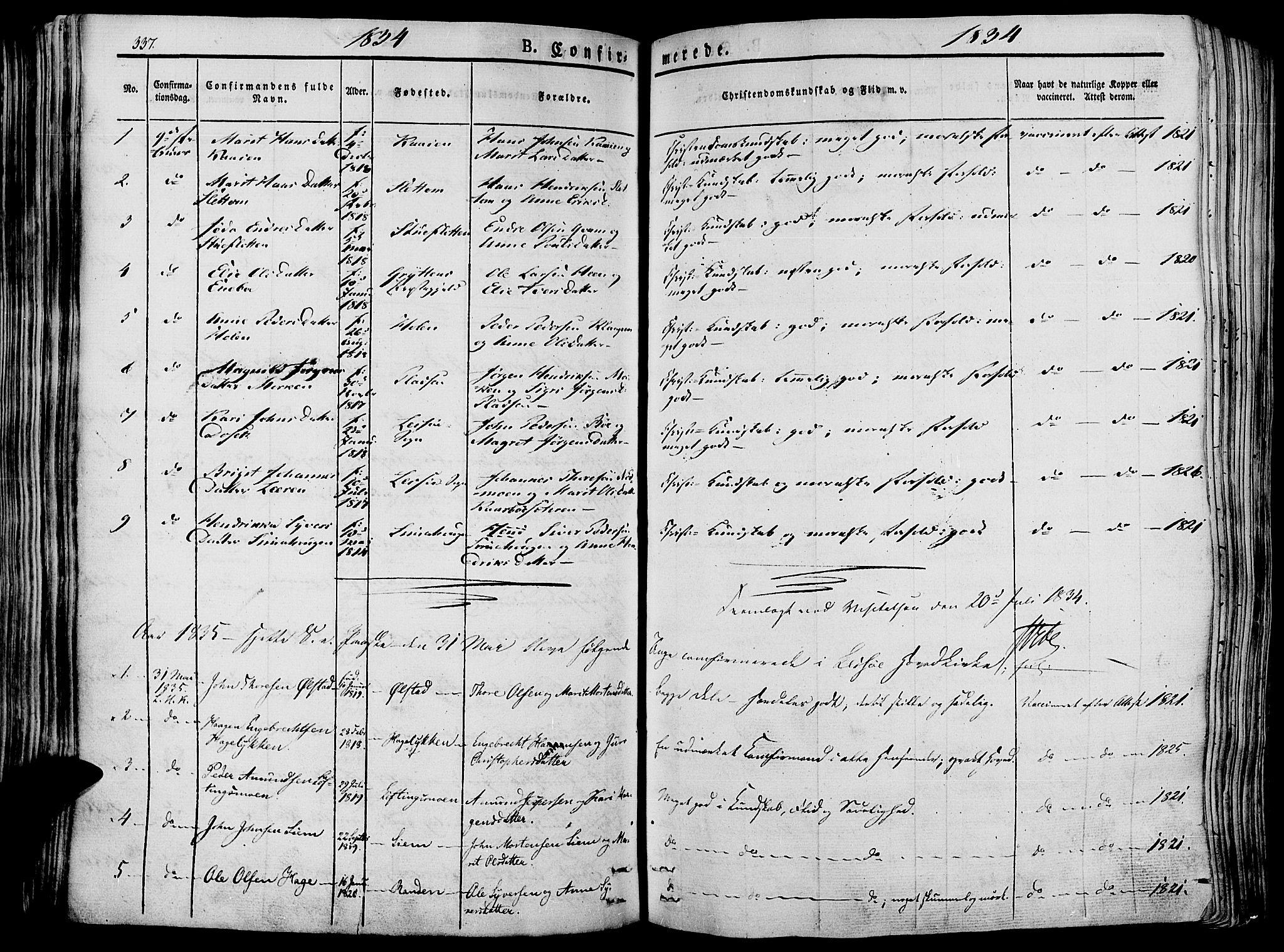 SAH, Lesja prestekontor, Ministerialbok nr. 5, 1830-1842, s. 337