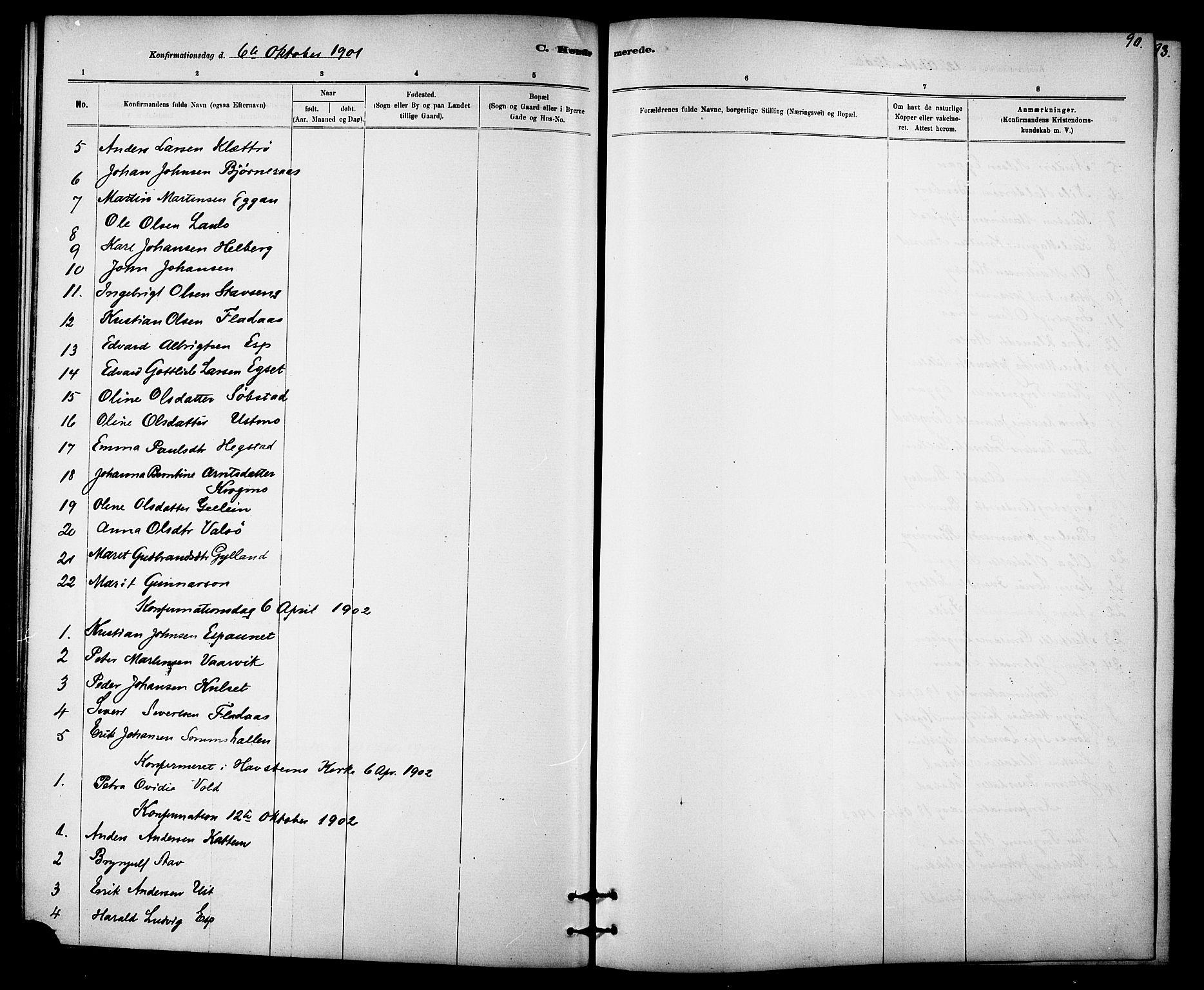 SAT, Ministerialprotokoller, klokkerbøker og fødselsregistre - Sør-Trøndelag, 613/L0395: Klokkerbok nr. 613C03, 1887-1909, s. 90