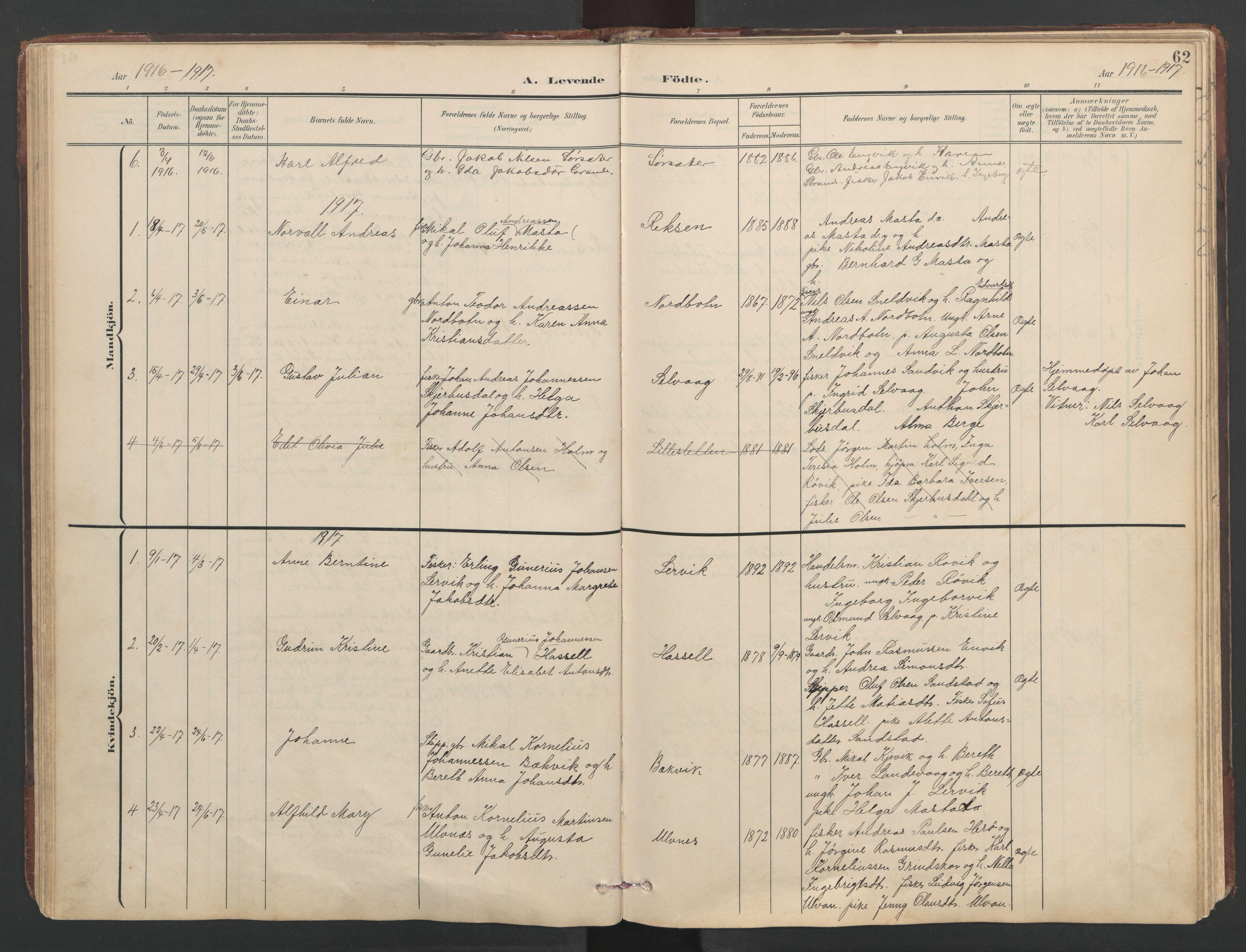 SAT, Ministerialprotokoller, klokkerbøker og fødselsregistre - Sør-Trøndelag, 638/L0571: Klokkerbok nr. 638C03, 1901-1930, s. 62