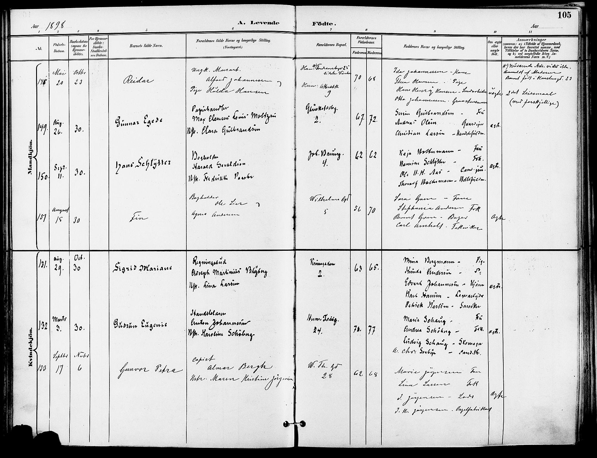 SAO, Gamle Aker prestekontor Kirkebøker, F/L0011: Ministerialbok nr. 11, 1896-1901, s. 105