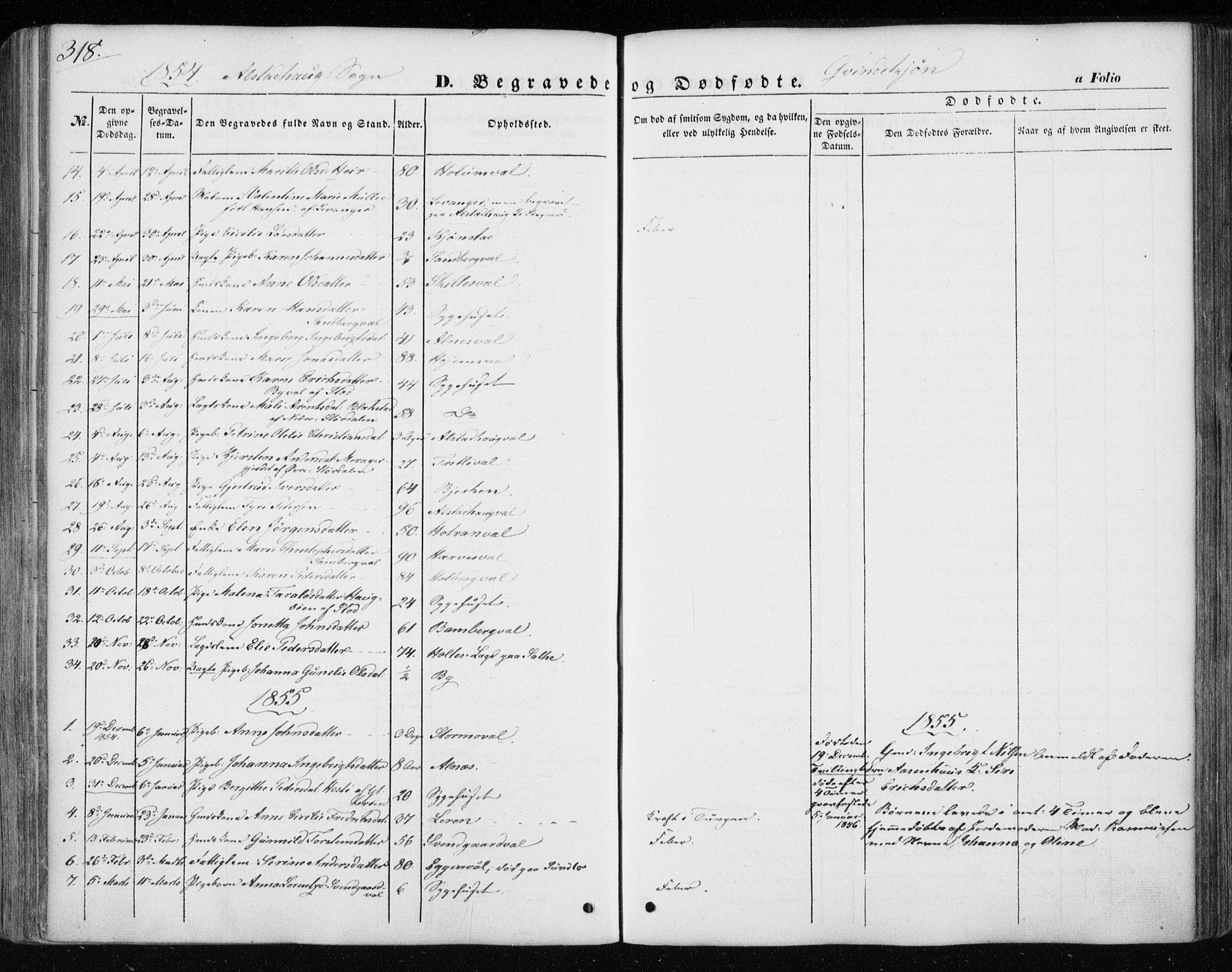 SAT, Ministerialprotokoller, klokkerbøker og fødselsregistre - Nord-Trøndelag, 717/L0154: Ministerialbok nr. 717A07 /1, 1850-1862, s. 318
