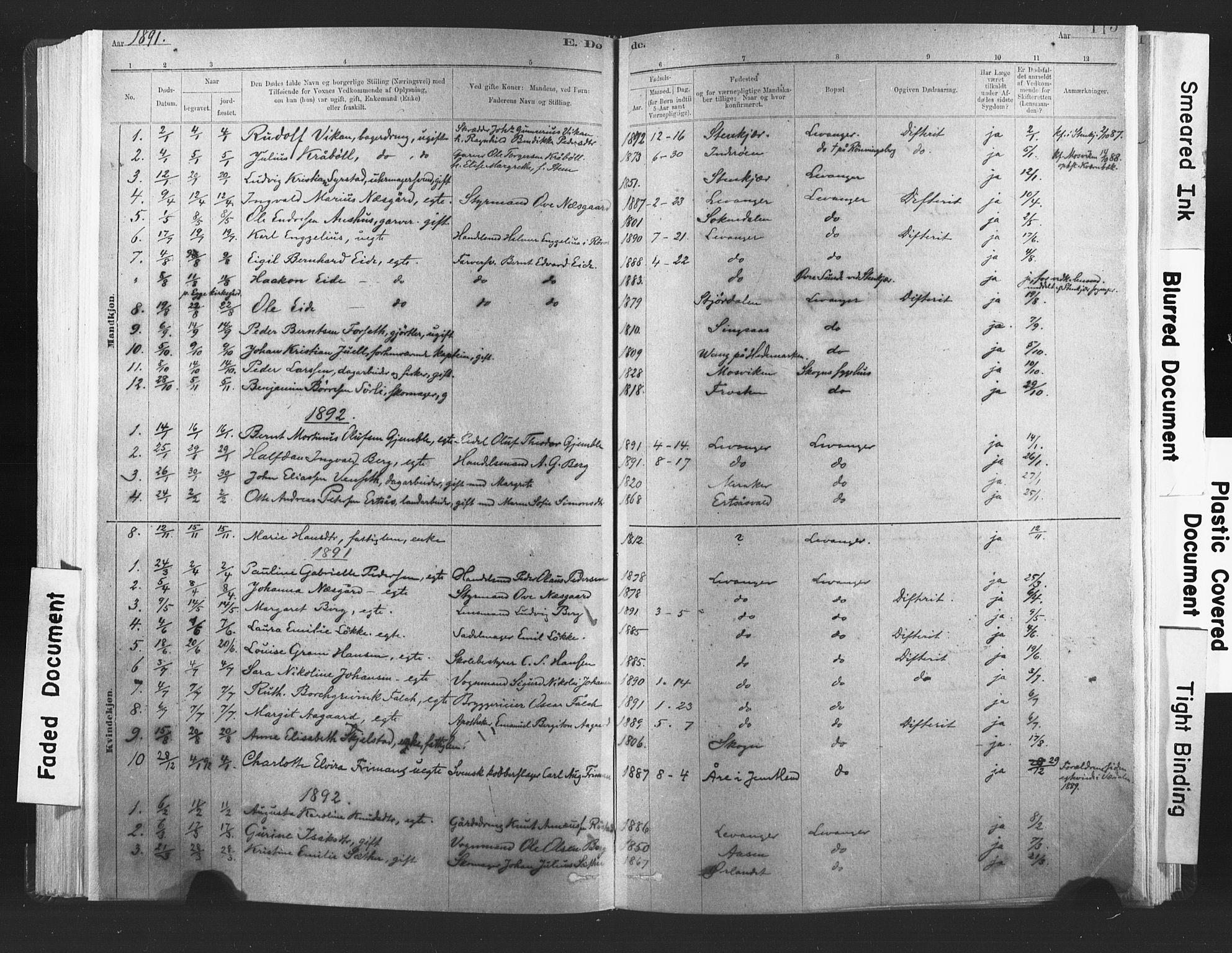 SAT, Ministerialprotokoller, klokkerbøker og fødselsregistre - Nord-Trøndelag, 720/L0189: Ministerialbok nr. 720A05, 1880-1911, s. 115