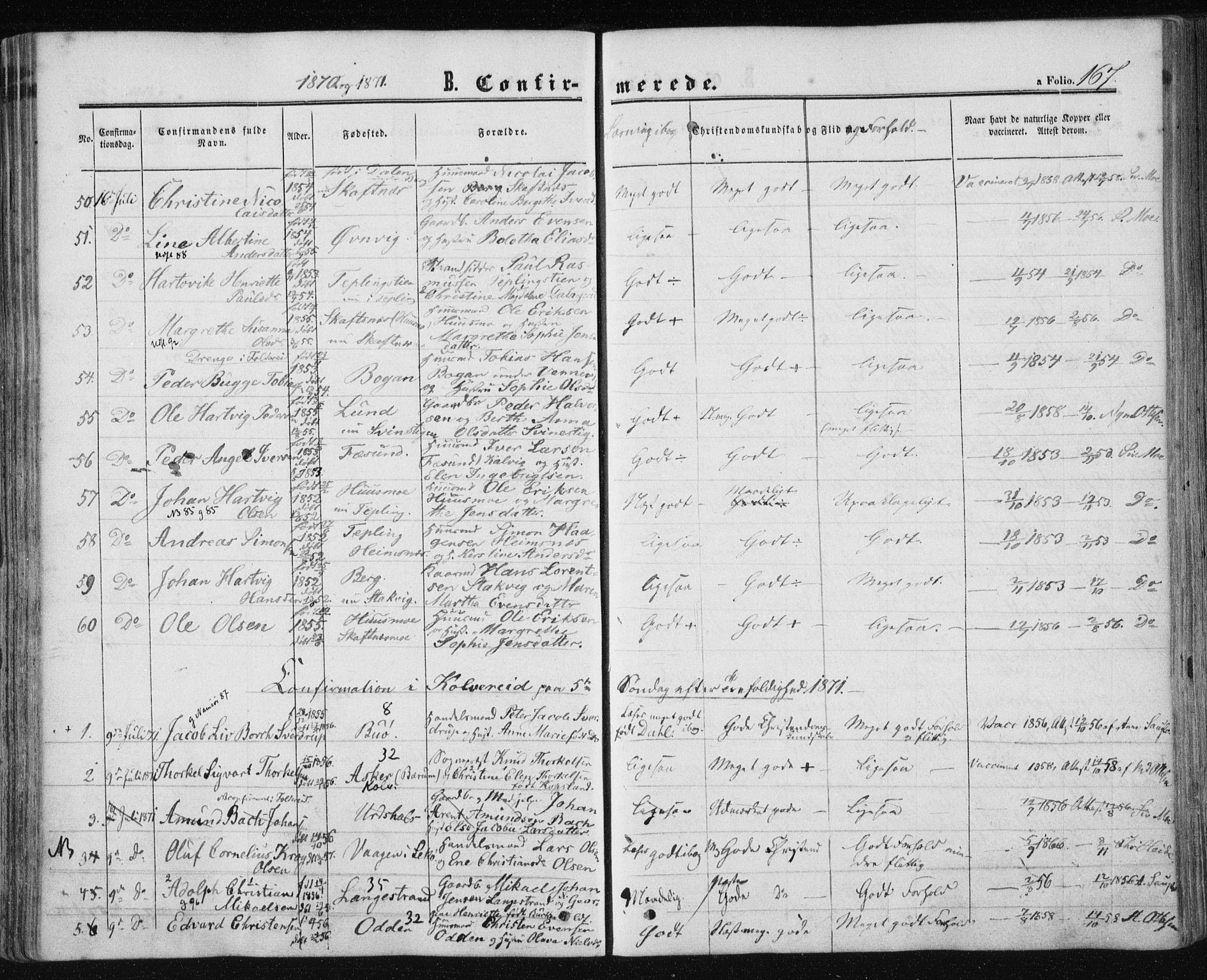 SAT, Ministerialprotokoller, klokkerbøker og fødselsregistre - Nord-Trøndelag, 780/L0641: Ministerialbok nr. 780A06, 1857-1874, s. 167
