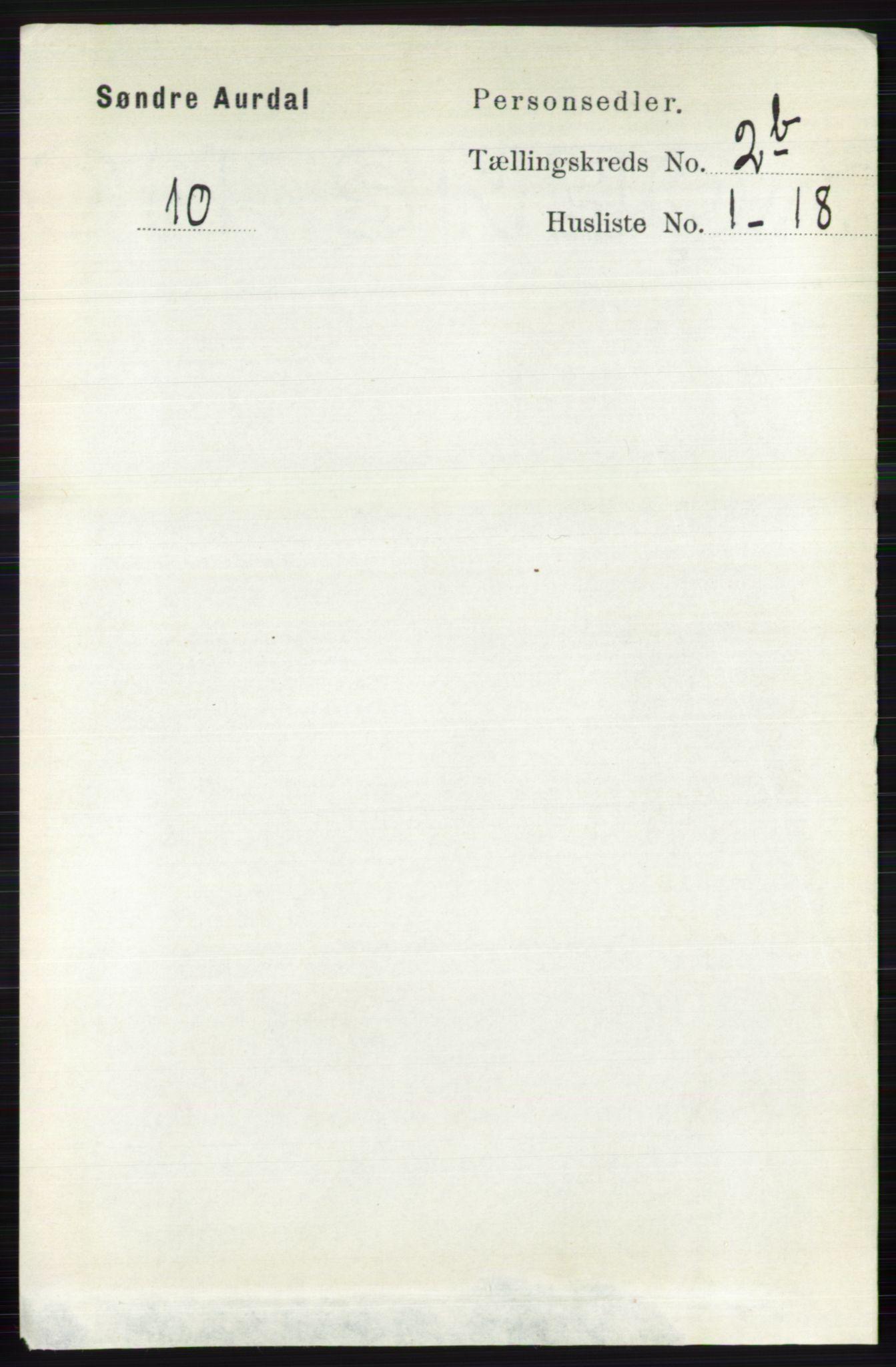 RA, Folketelling 1891 for 0540 Sør-Aurdal herred, 1891, s. 1455