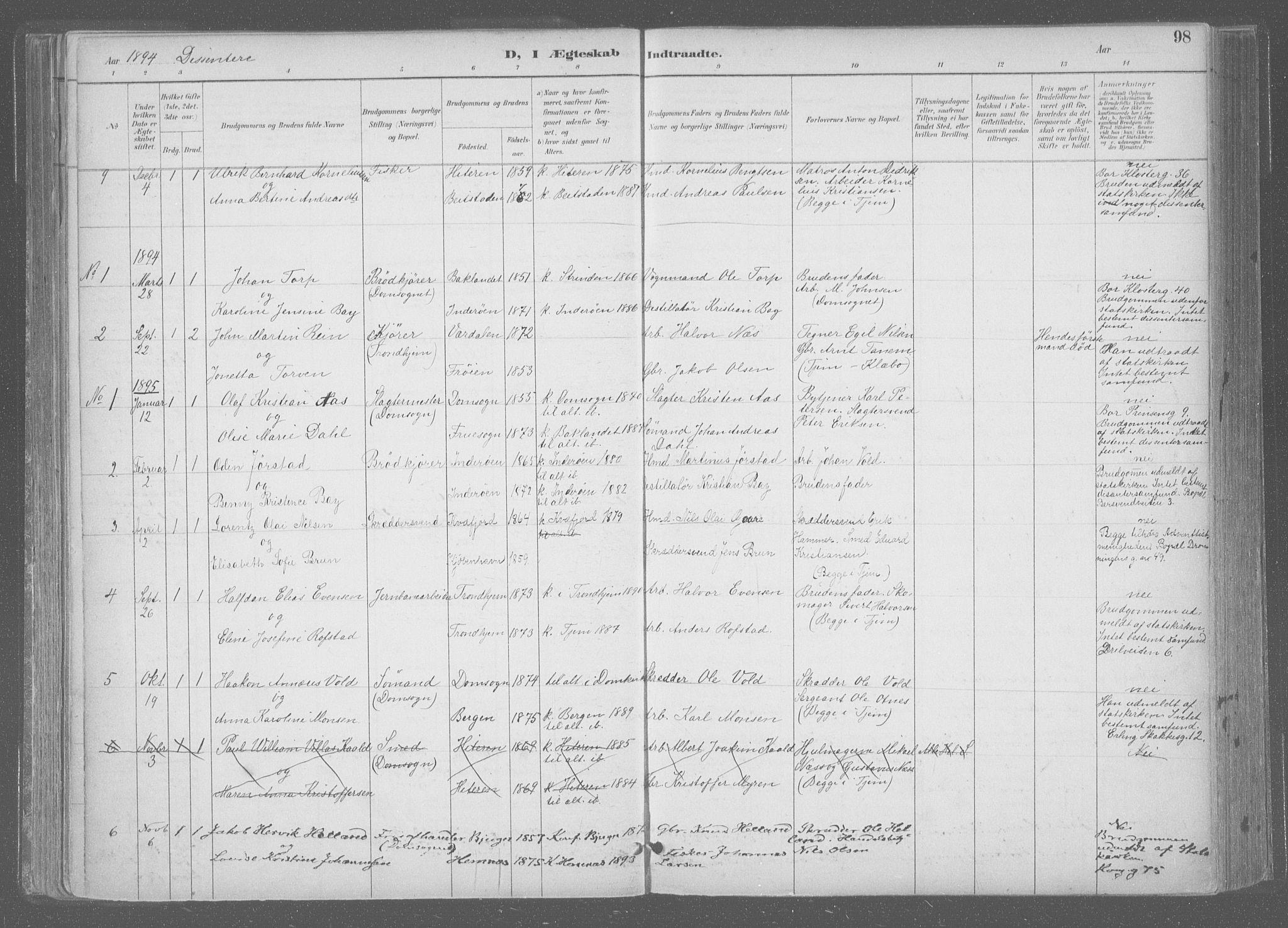 SAT, Ministerialprotokoller, klokkerbøker og fødselsregistre - Sør-Trøndelag, 601/L0064: Ministerialbok nr. 601A31, 1891-1911, s. 98
