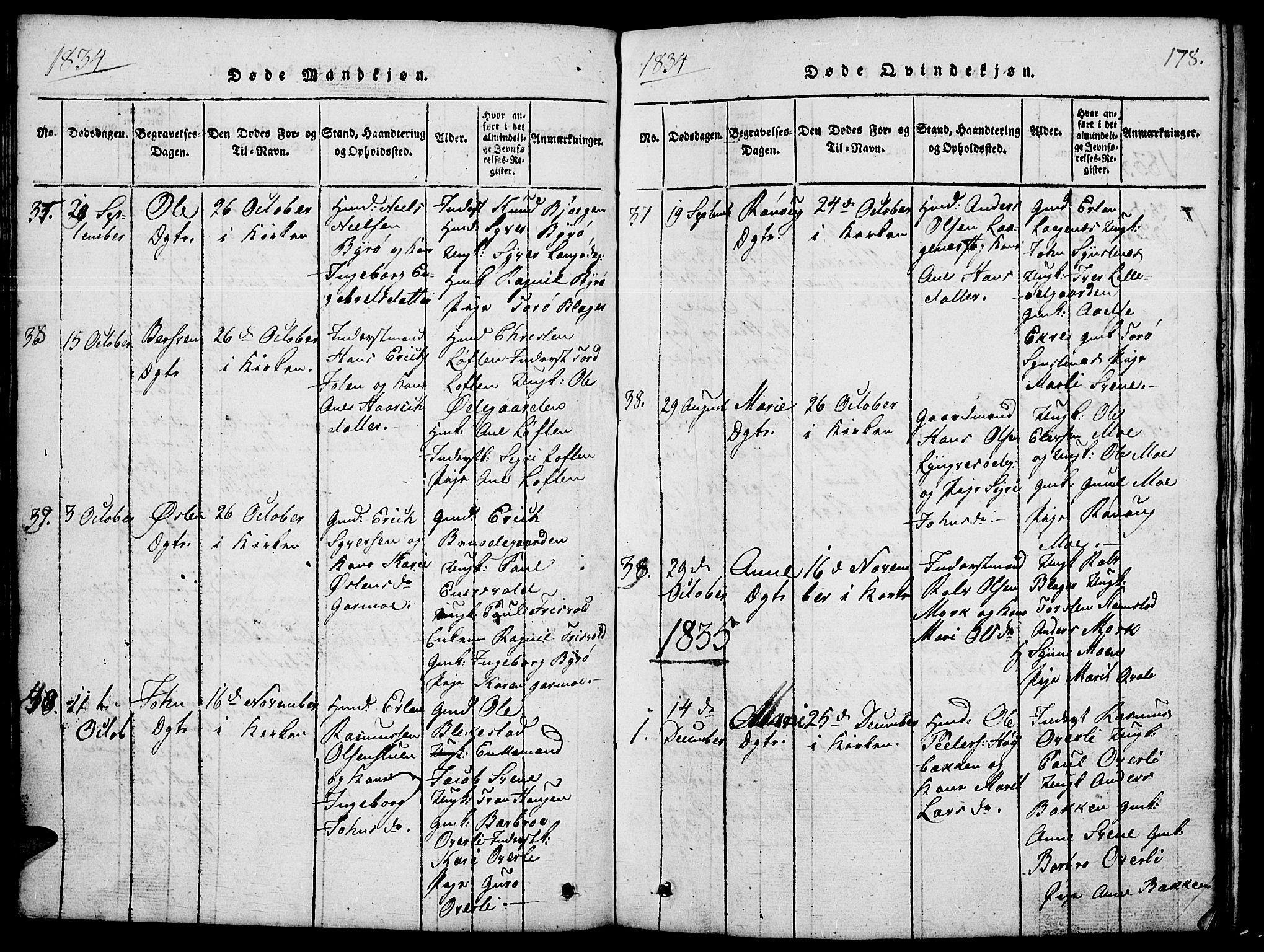 SAH, Lom prestekontor, L/L0001: Klokkerbok nr. 1, 1815-1836, s. 178