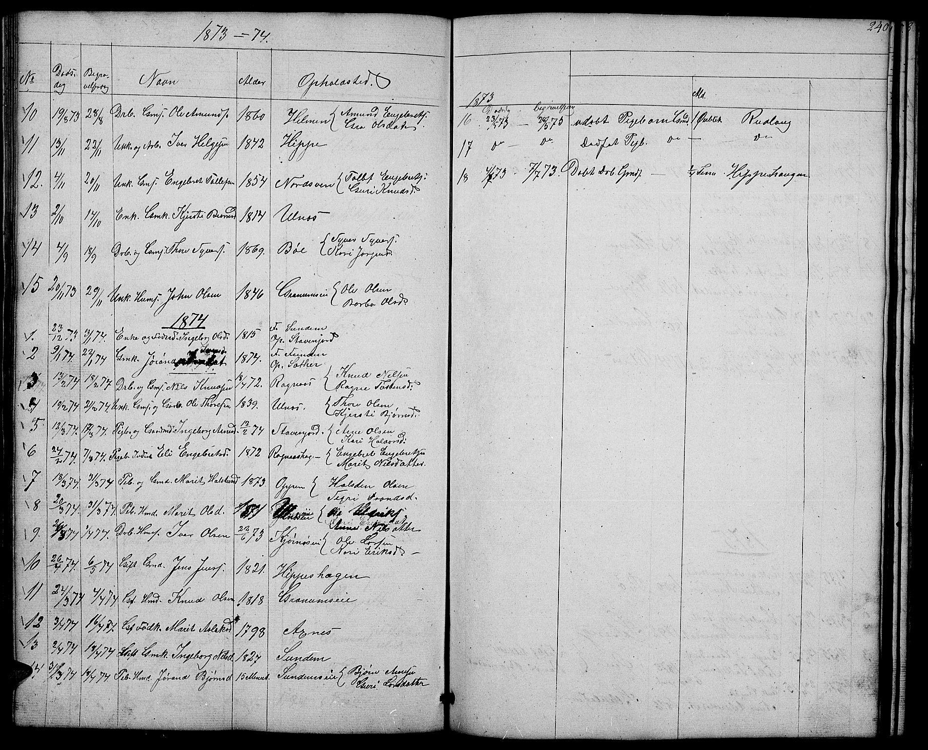 SAH, Nord-Aurdal prestekontor, Klokkerbok nr. 4, 1842-1882, s. 240