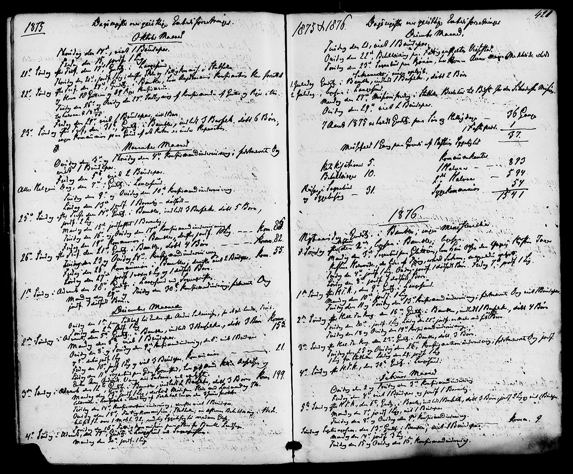 SAKO, Bamble kirkebøker, F/Fa/L0006: Ministerialbok nr. I 6, 1869-1877, s. 420