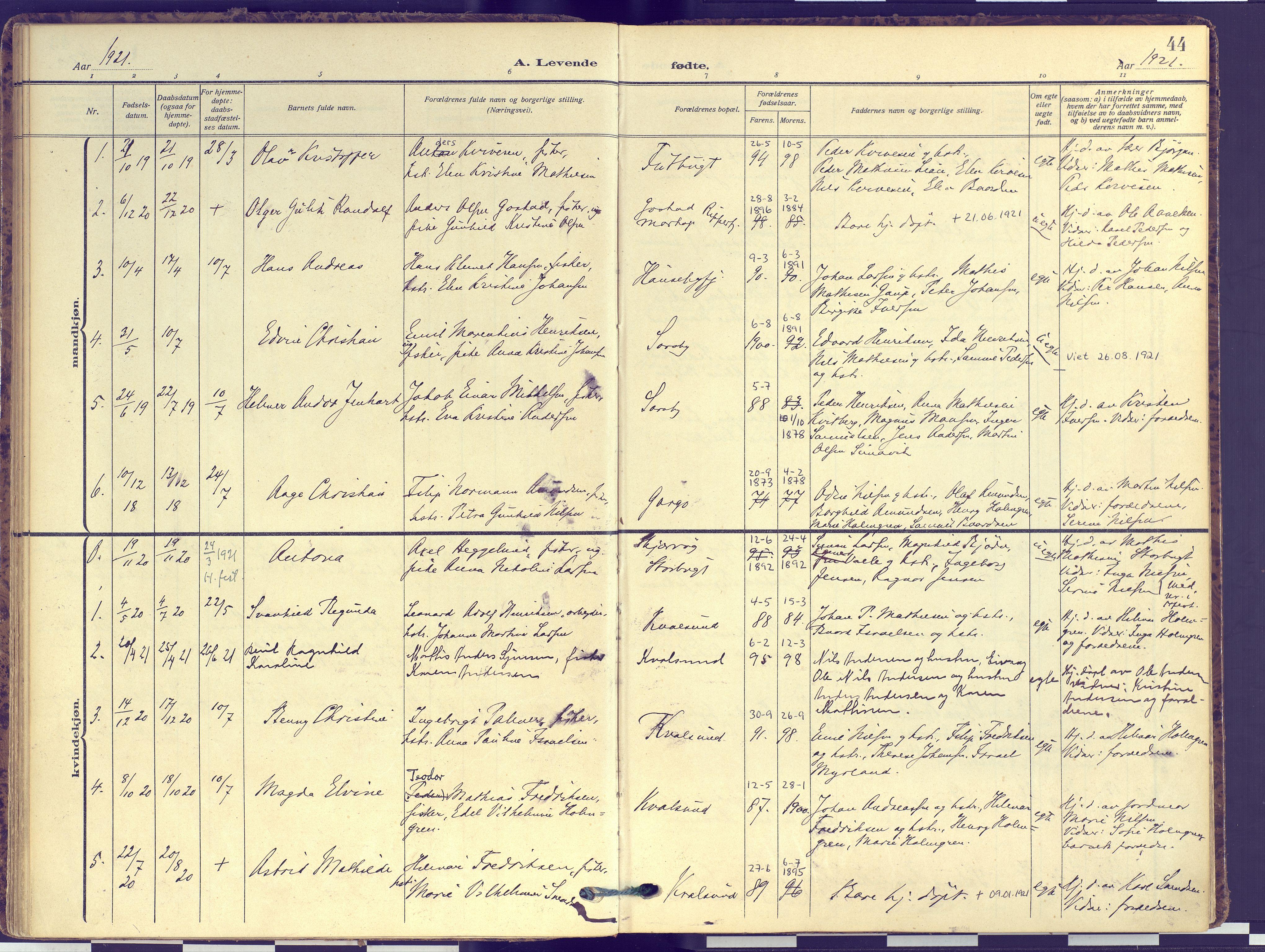 SATØ, Hammerfest sokneprestembete, Ministerialbok nr. 16, 1908-1923, s. 44