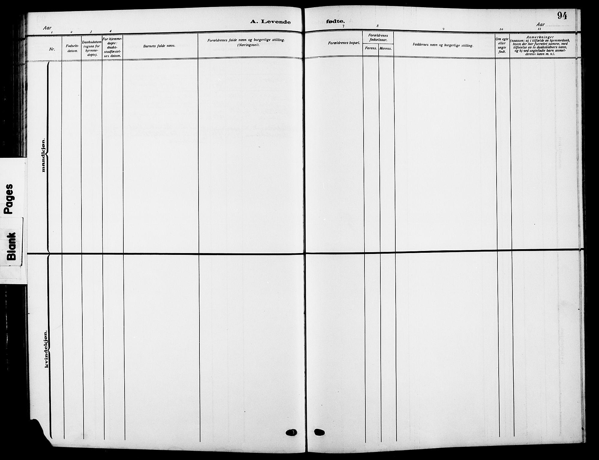SAH, Vardal prestekontor, H/Ha/Hab/L0014: Klokkerbok nr. 14, 1911-1922, s. 94