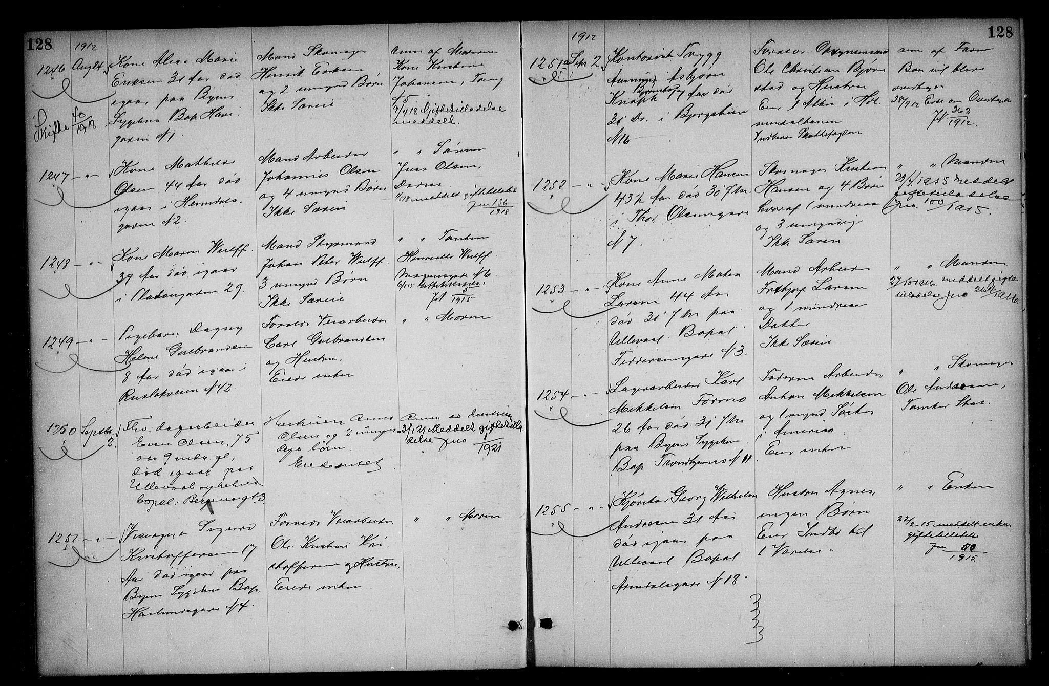 SAO, Oslo skifterett, G/Ga/Gac/L0006: Dødsfallsprotokoll, 1911-1913, s. 128