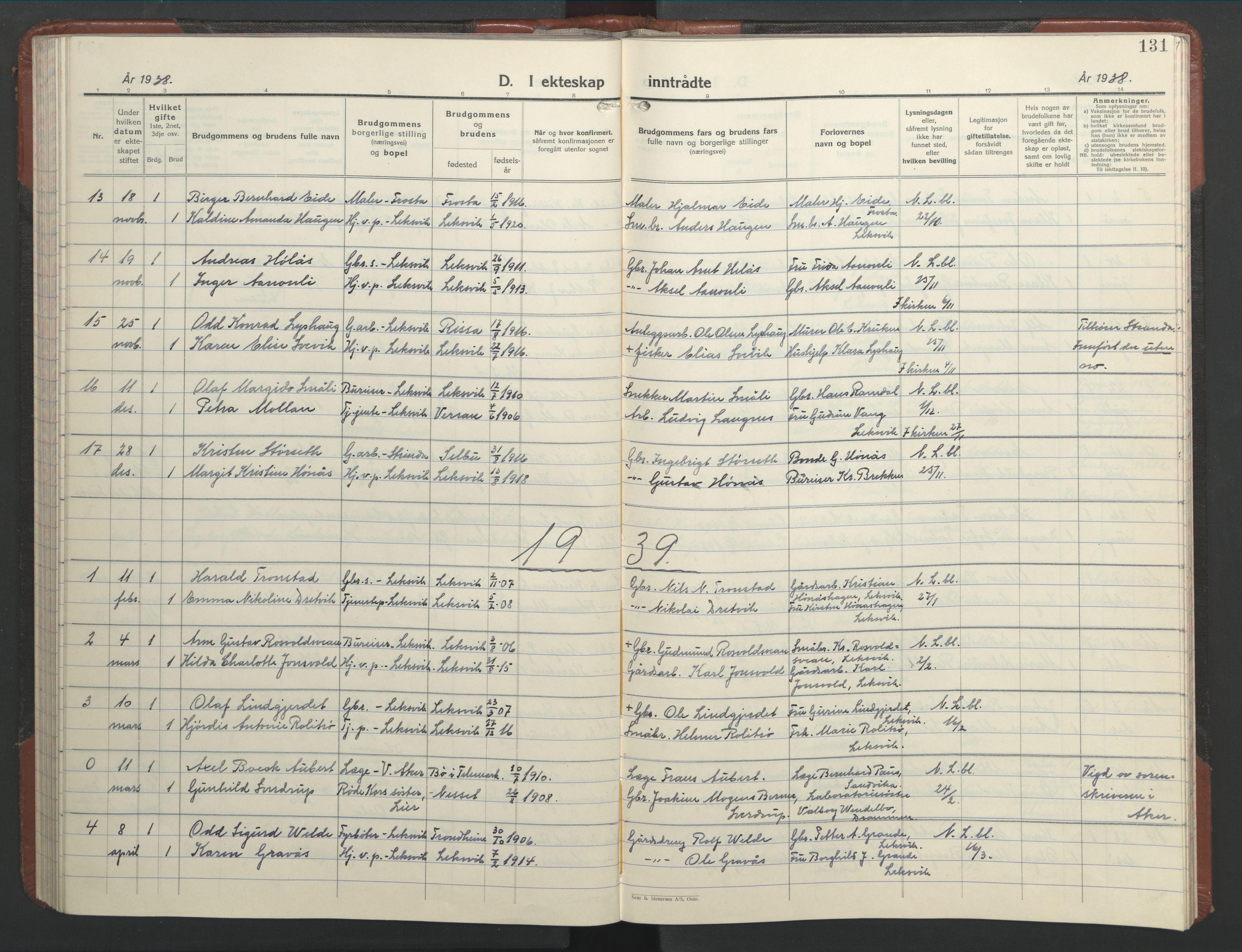 SAT, Ministerialprotokoller, klokkerbøker og fødselsregistre - Nord-Trøndelag, 701/L0019: Klokkerbok nr. 701C03, 1930-1953, s. 131