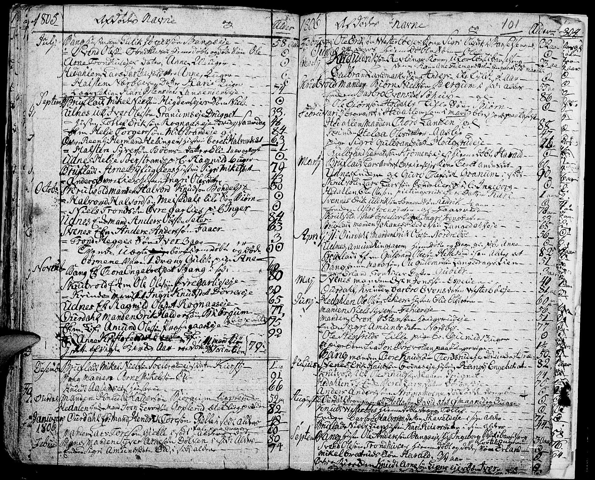 SAH, Aurdal prestekontor, Ministerialbok nr. 7, 1800-1808, s. 101