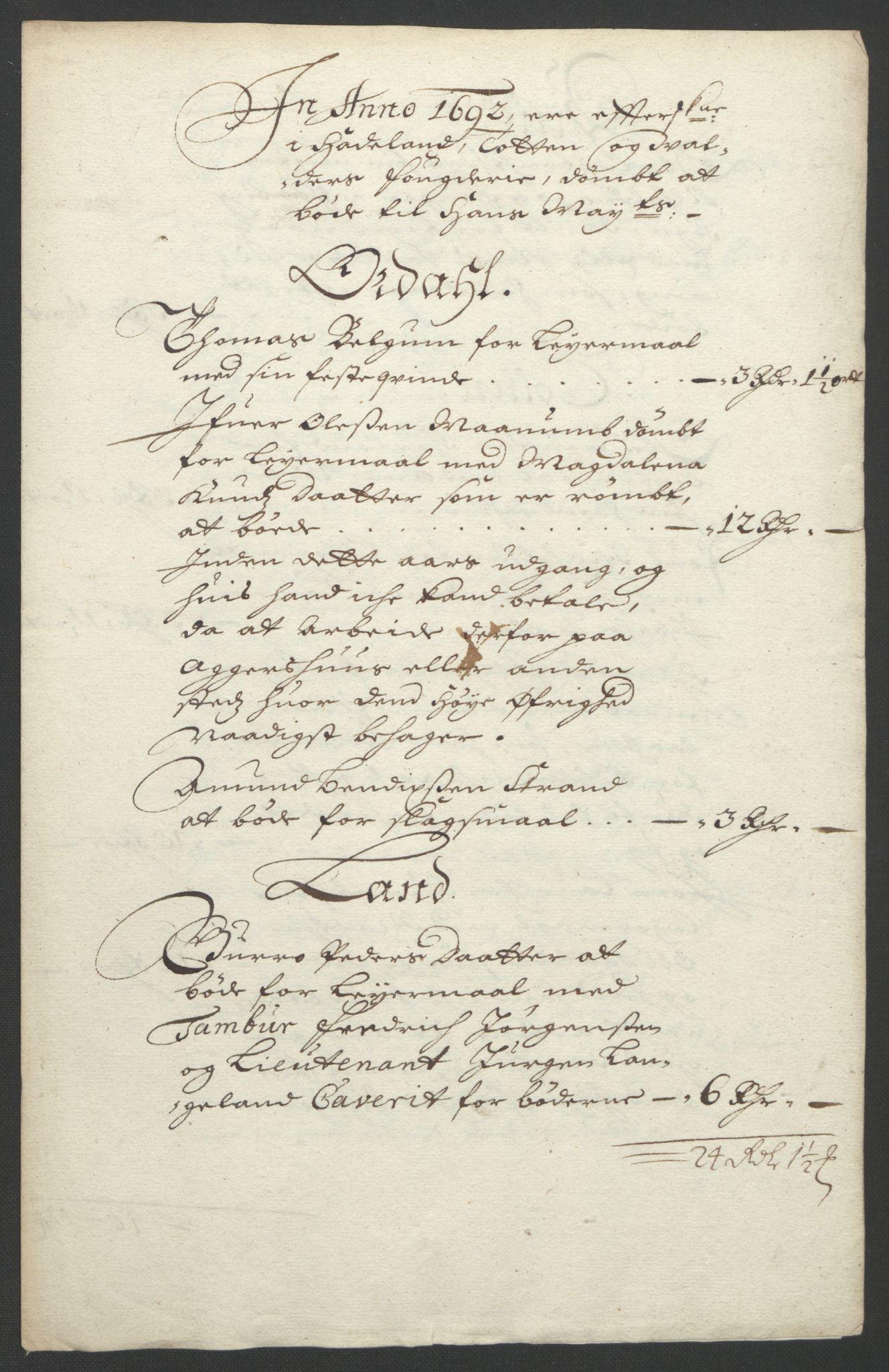 RA, Rentekammeret inntil 1814, Reviderte regnskaper, Fogderegnskap, R18/L1291: Fogderegnskap Hadeland, Toten og Valdres, 1692, s. 62