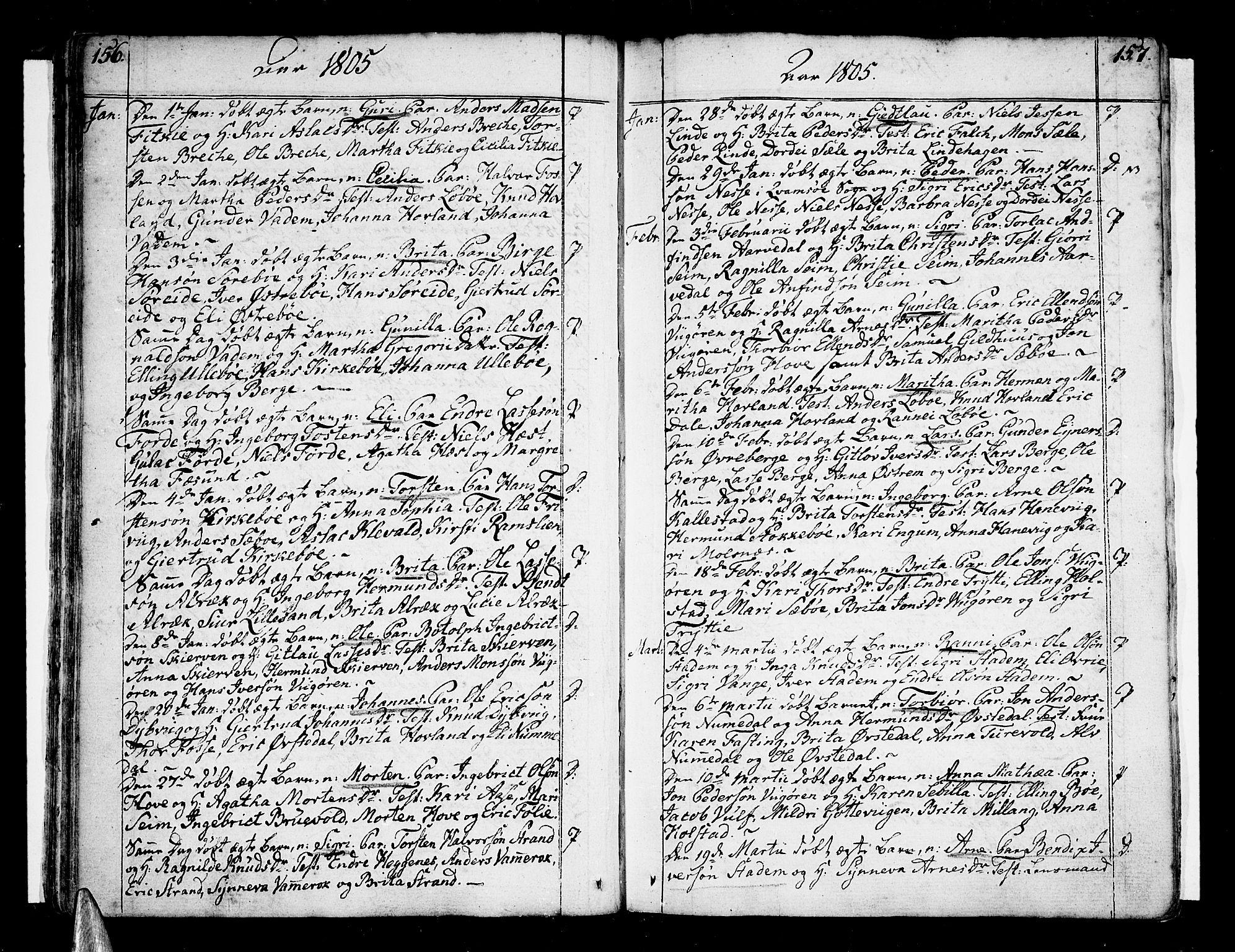 SAB, Vik Sokneprestembete, Ministerialbok nr. A 5, 1787-1820, s. 156-157