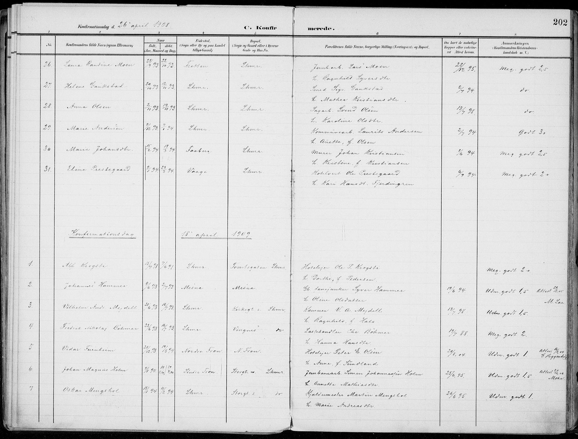 SAH, Lillehammer prestekontor, Ministerialbok nr. 1, 1901-1916, s. 202