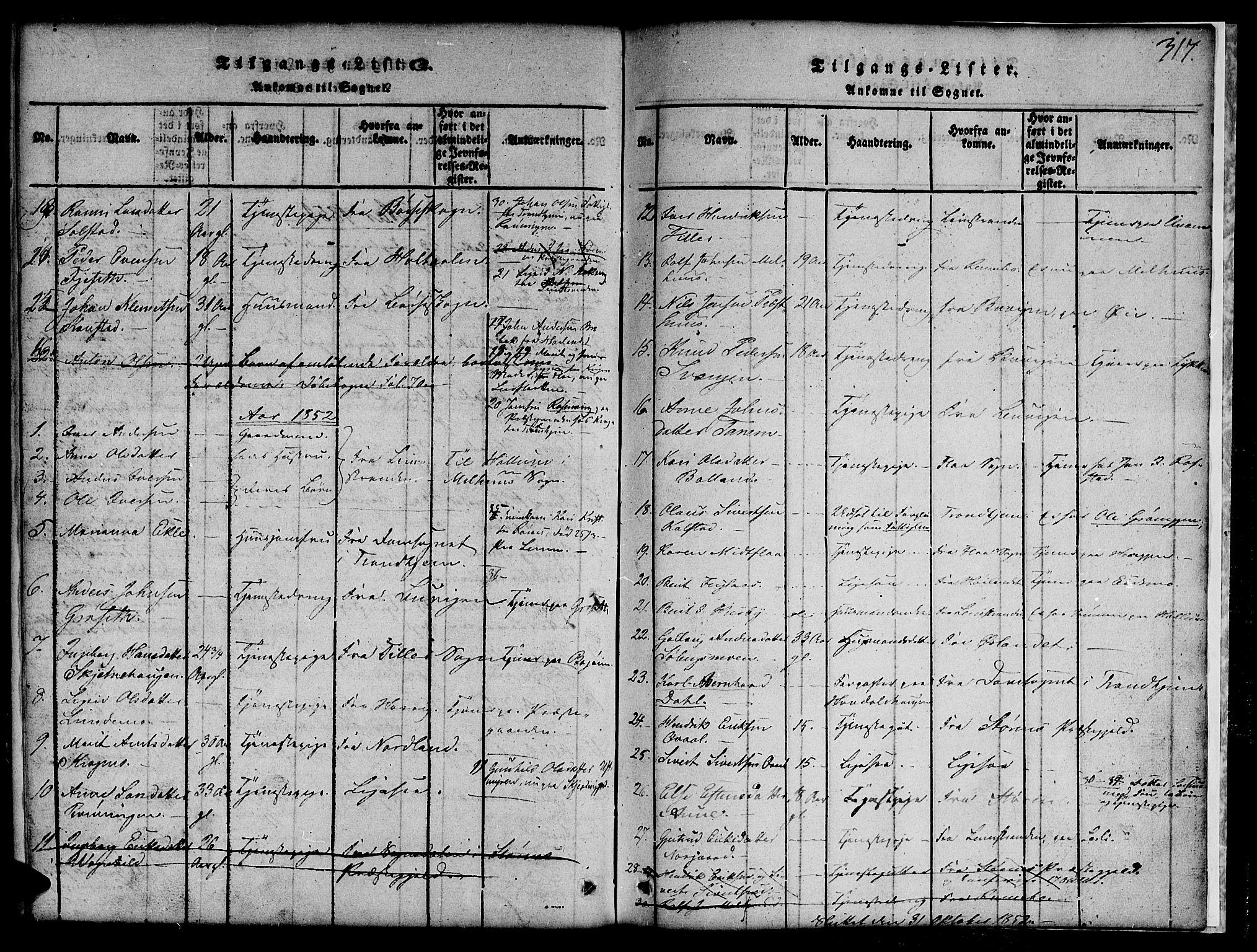 SAT, Ministerialprotokoller, klokkerbøker og fødselsregistre - Sør-Trøndelag, 691/L1092: Klokkerbok nr. 691C03, 1816-1852, s. 317