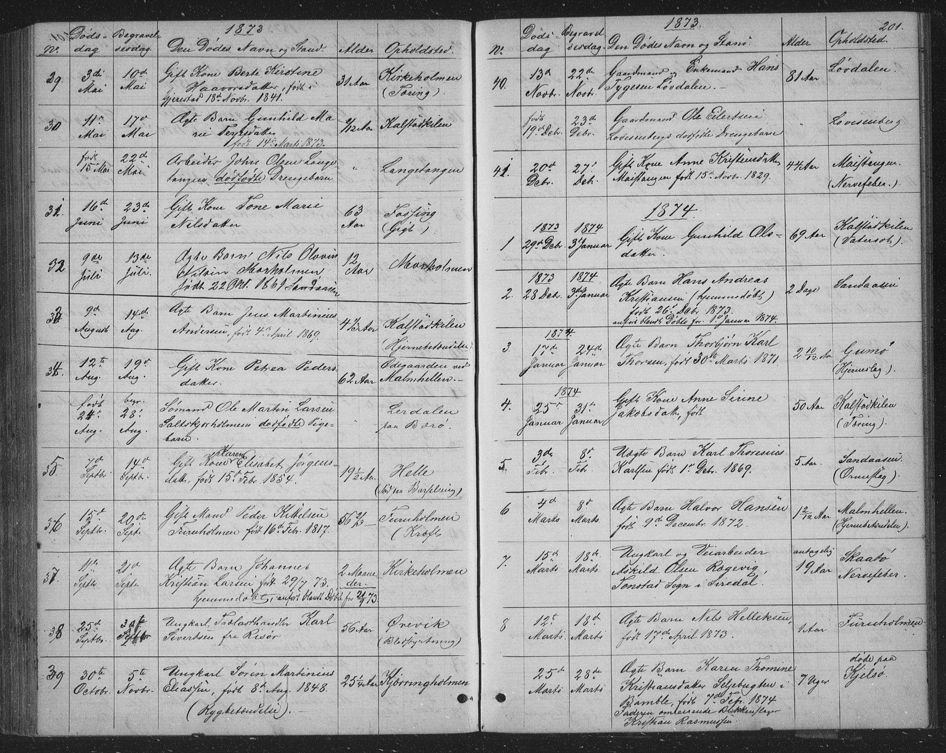 SAKO, Skåtøy kirkebøker, G/Ga/L0002: Klokkerbok nr. I 2, 1872-1884, s. 201