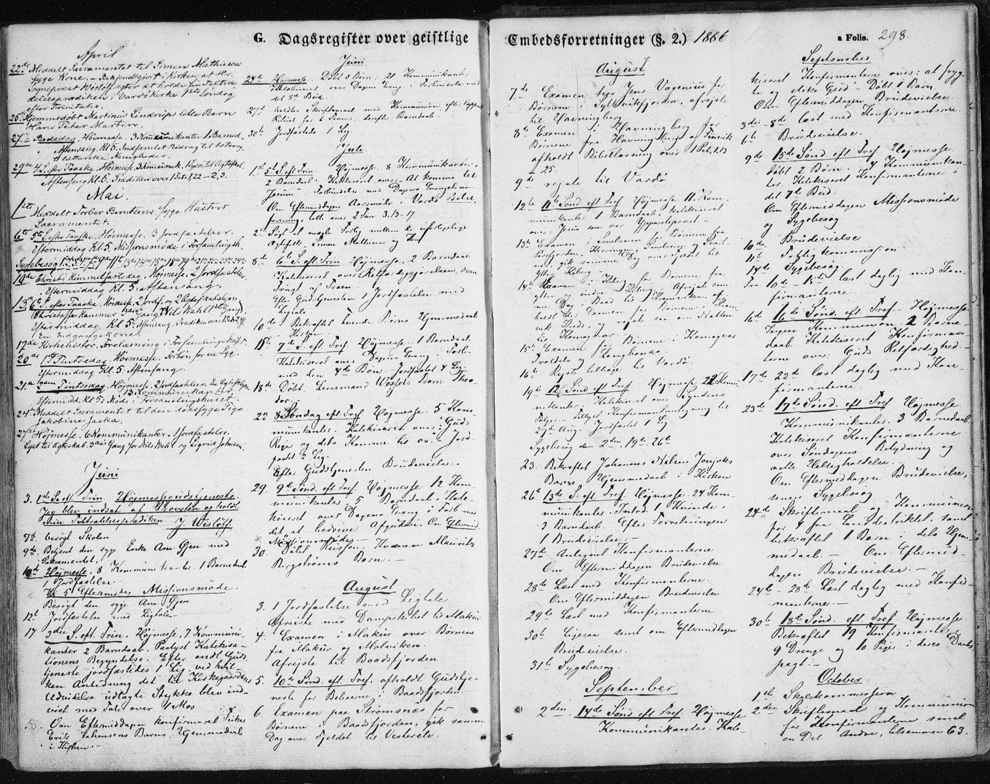 SATØ, Vardø sokneprestkontor, H/Ha/L0004kirke: Ministerialbok nr. 4, 1862-1871, s. 298