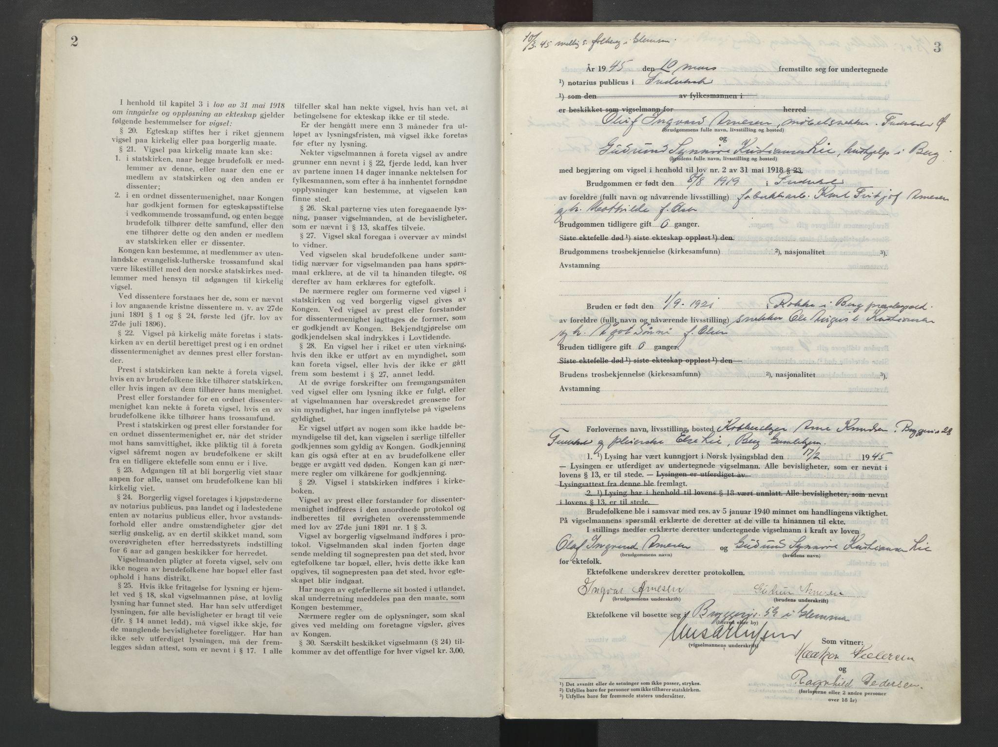 SAO, Fredrikstad byfogd, L/Lc/L0004: Vigselsbok, 1945-1953, s. 2-3