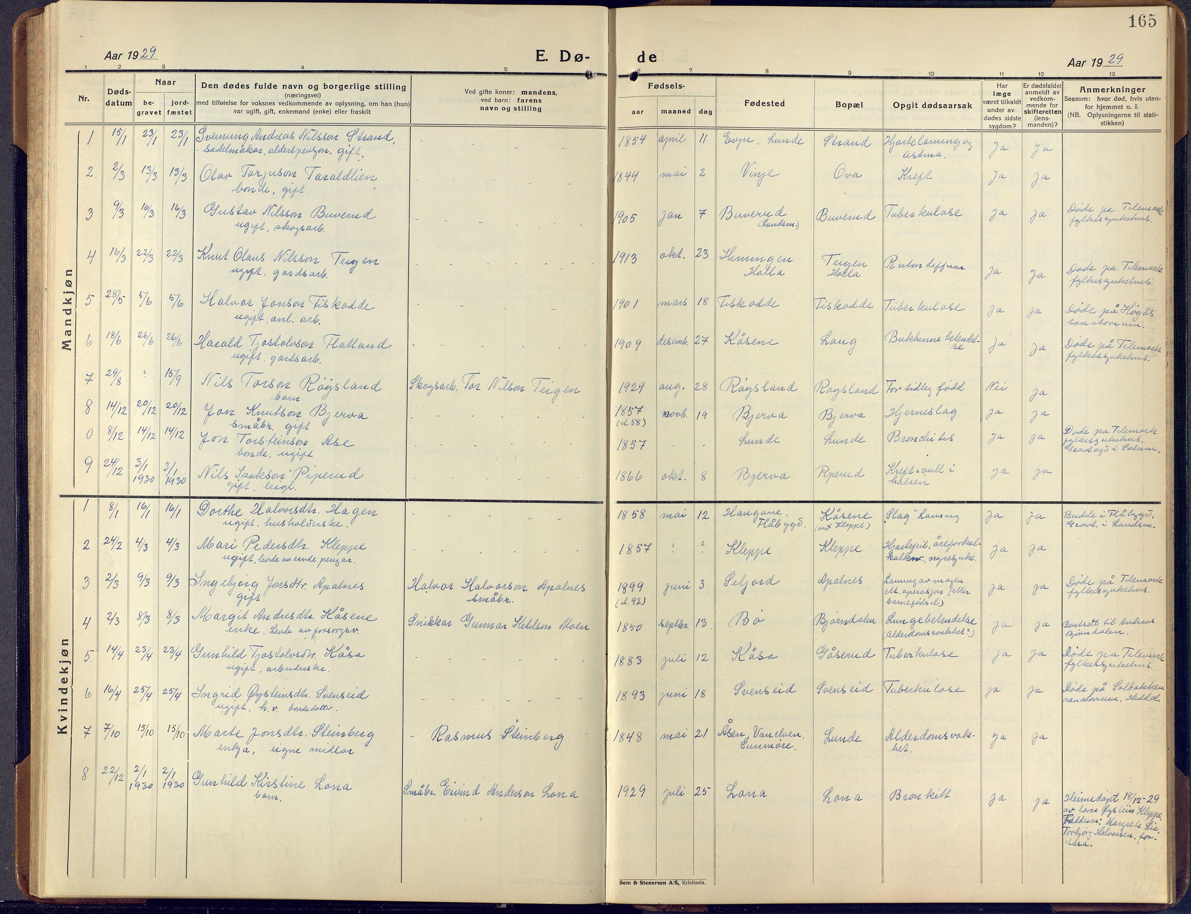 SAKO, Lunde kirkebøker, F/Fa/L0006: Ministerialbok nr. I 6, 1922-1940, s. 165