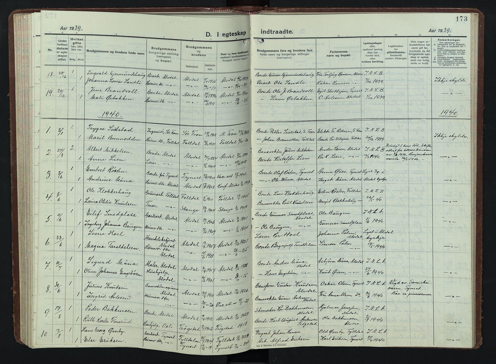 SAH, Alvdal prestekontor, Klokkerbok nr. 7, 1924-1945, s. 173