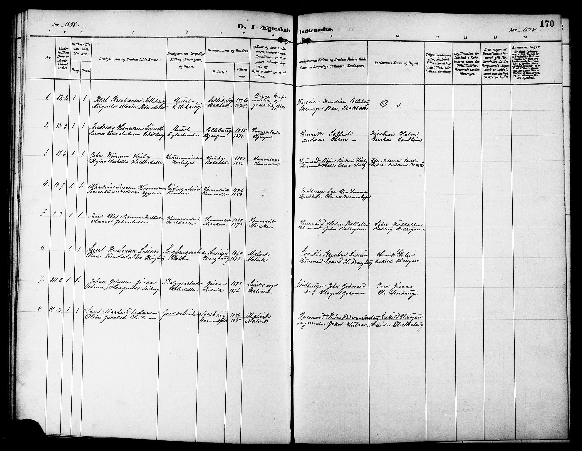 SAT, Ministerialprotokoller, klokkerbøker og fødselsregistre - Sør-Trøndelag, 617/L0431: Klokkerbok nr. 617C01, 1889-1910, s. 170