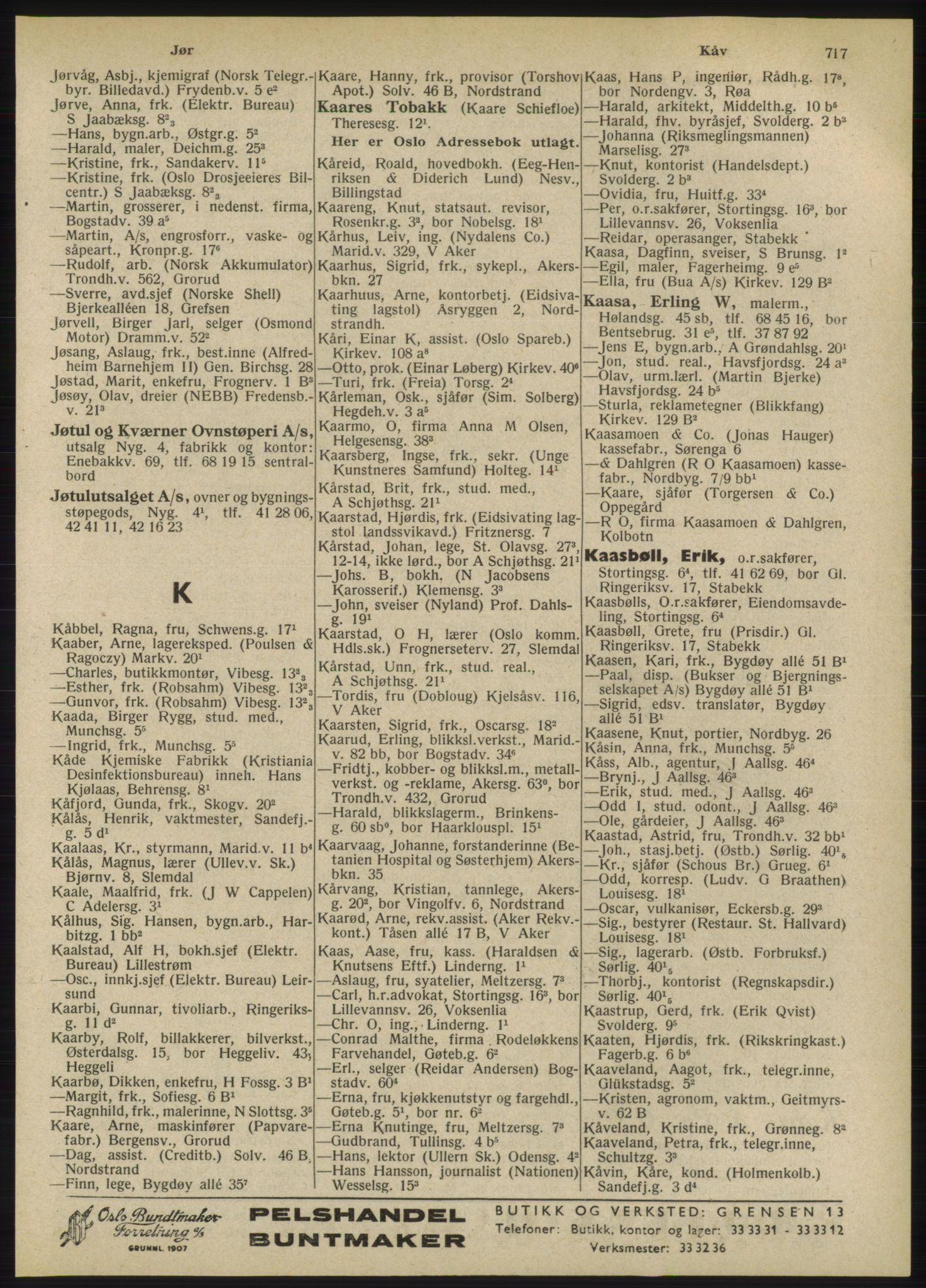 RA, Oslo adressebok (publikasjon)*, 1947, s. 717
