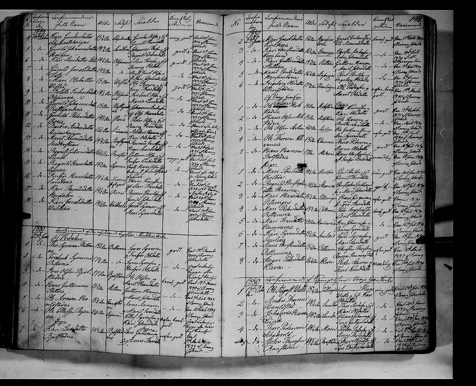 SAH, Vågå prestekontor, Ministerialbok nr. 5 /1, 1842-1856, s. 144