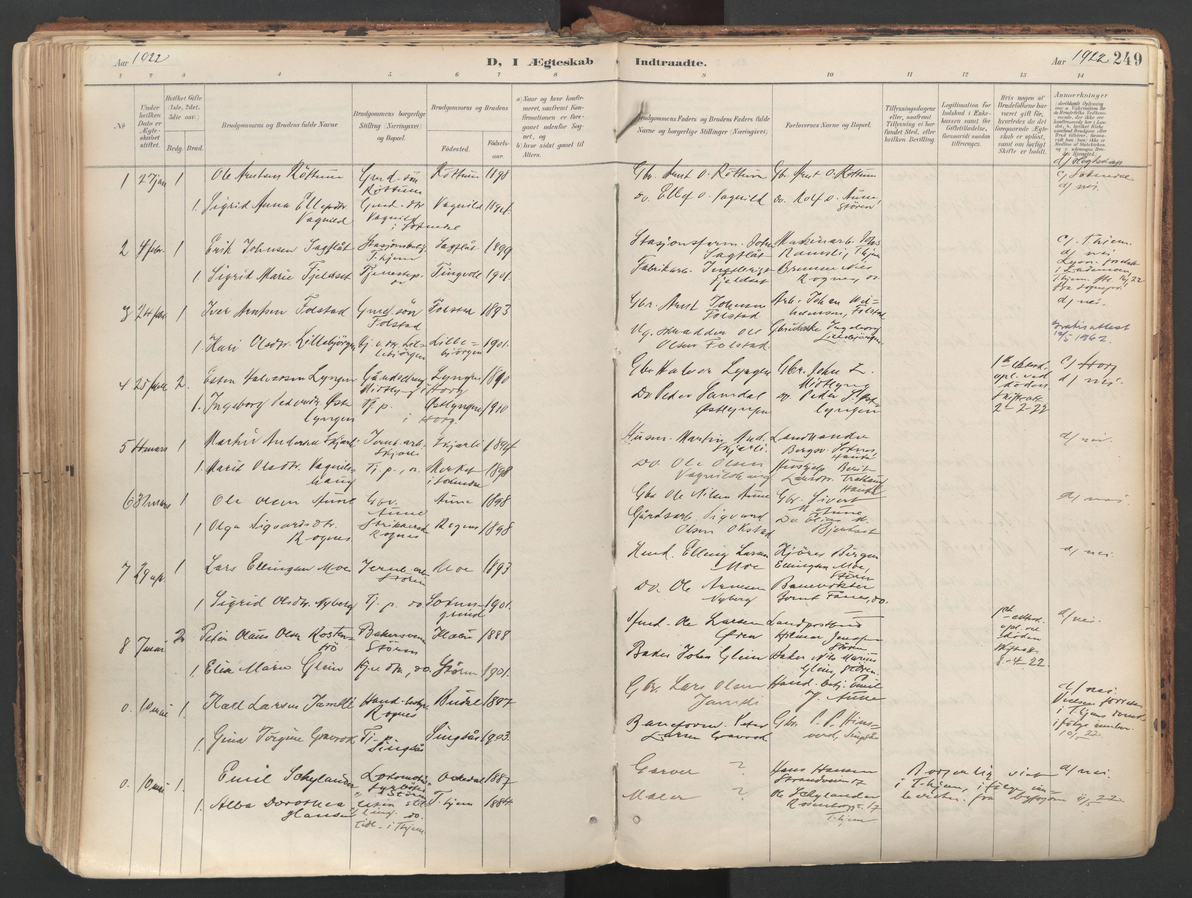 SAT, Ministerialprotokoller, klokkerbøker og fødselsregistre - Sør-Trøndelag, 687/L1004: Ministerialbok nr. 687A10, 1891-1923, s. 249