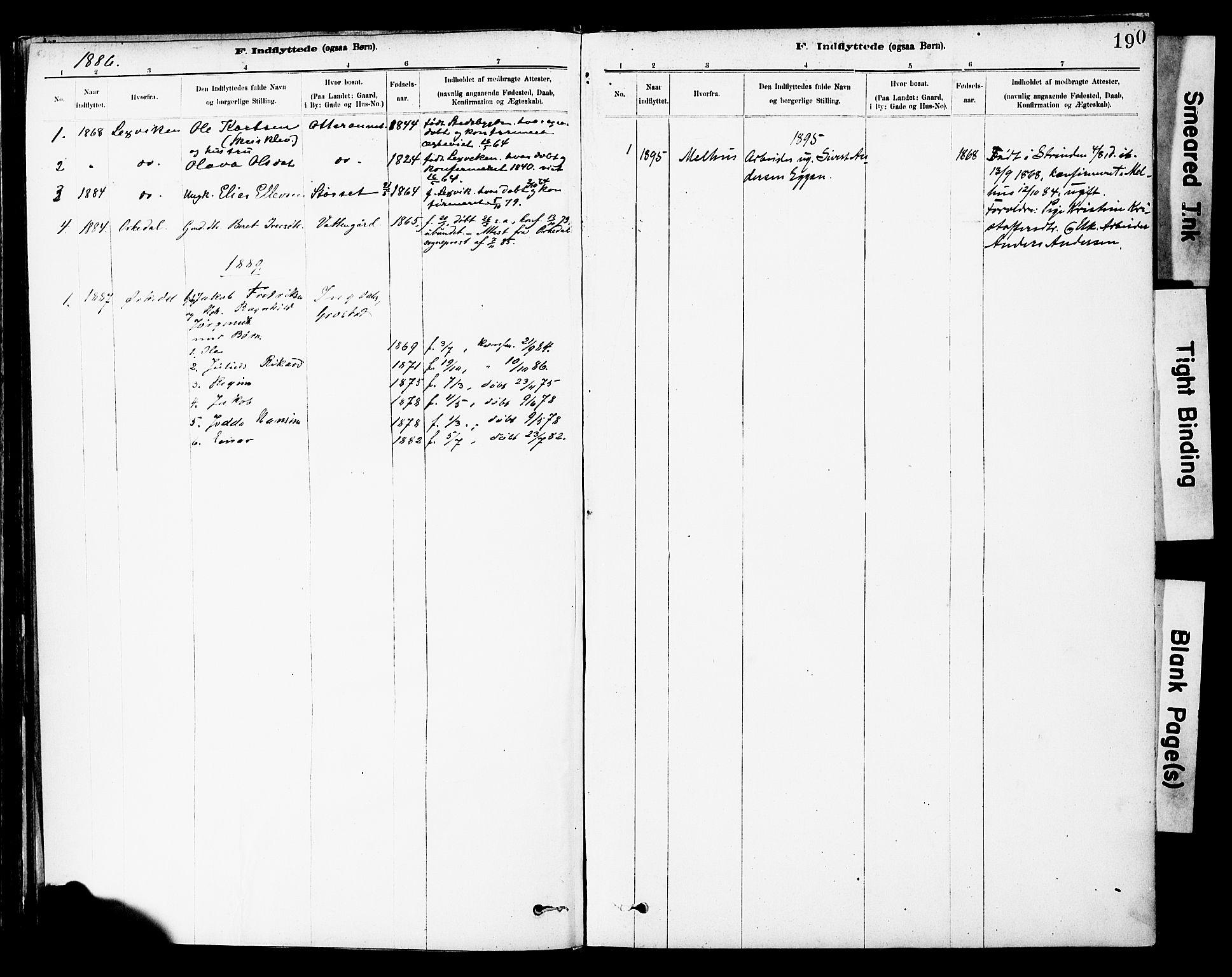 SAT, Ministerialprotokoller, klokkerbøker og fødselsregistre - Sør-Trøndelag, 646/L0615: Ministerialbok nr. 646A13, 1885-1900, s. 190