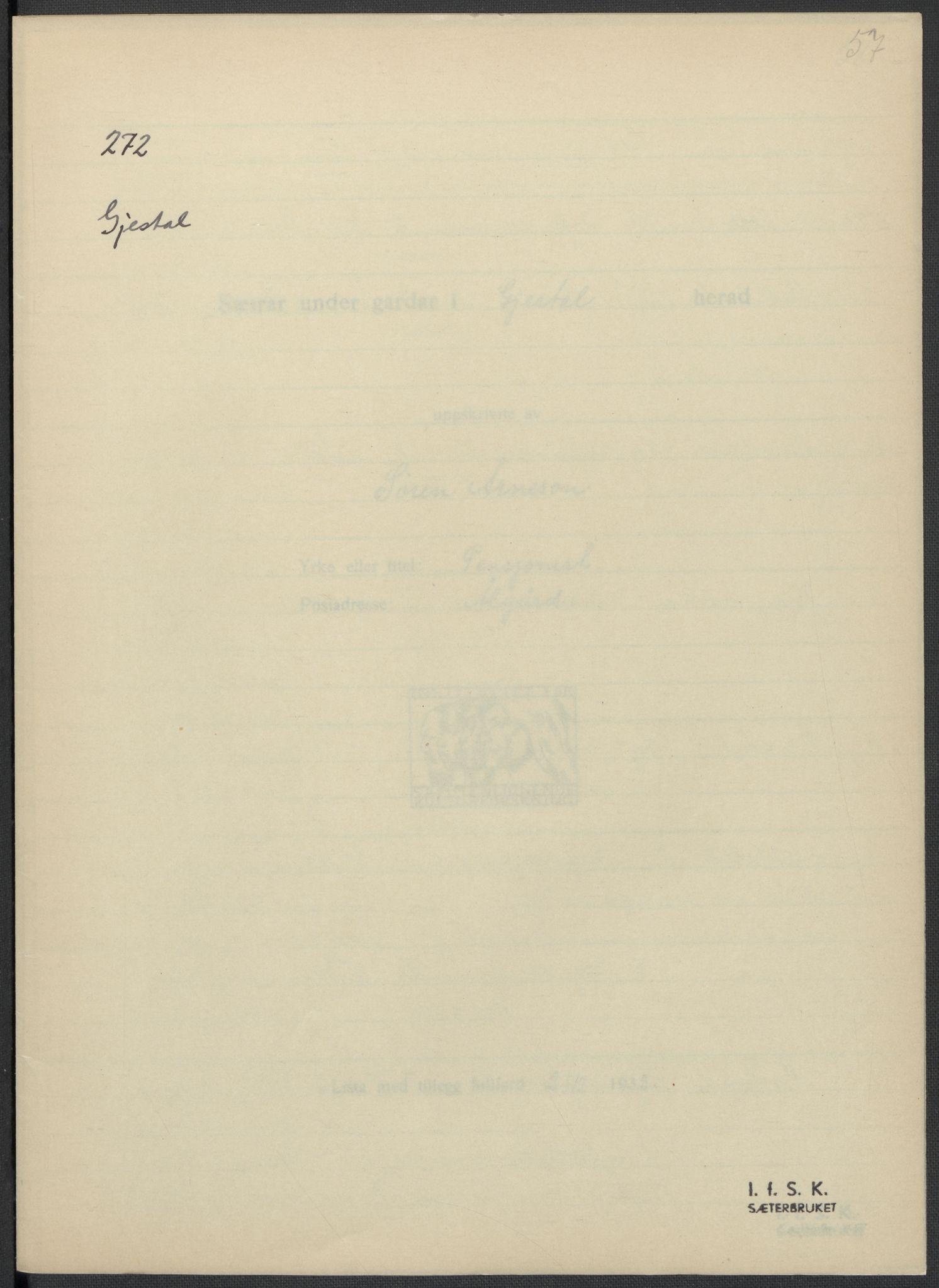 RA, Instituttet for sammenlignende kulturforskning, F/Fc/L0009: Eske B9:, 1932-1935, s. 57