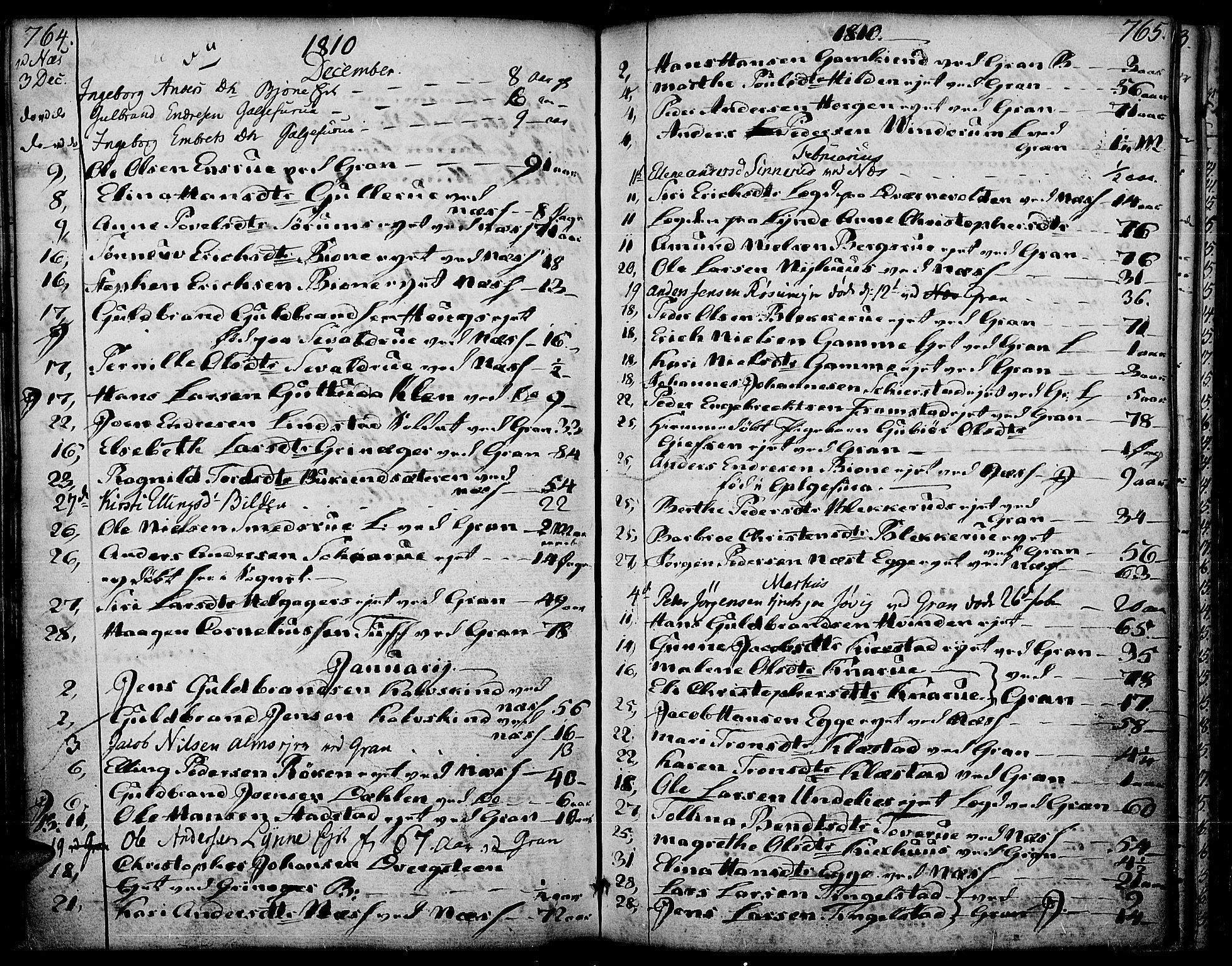 SAH, Gran prestekontor, Ministerialbok nr. 6, 1787-1824, s. 764-765