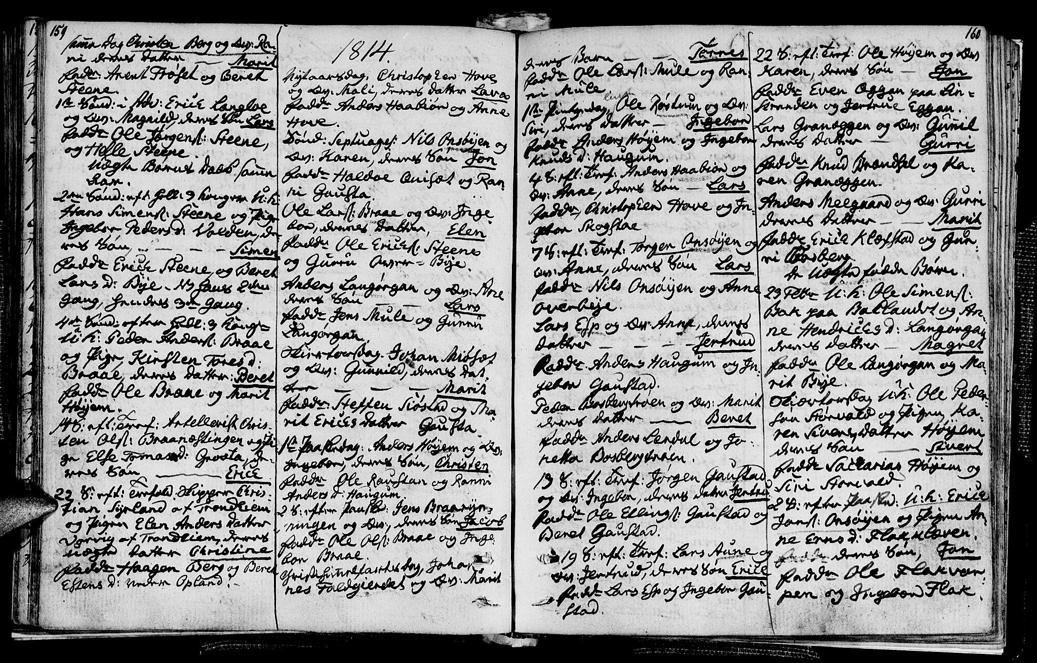 SAT, Ministerialprotokoller, klokkerbøker og fødselsregistre - Sør-Trøndelag, 612/L0371: Ministerialbok nr. 612A05, 1803-1816, s. 159-160