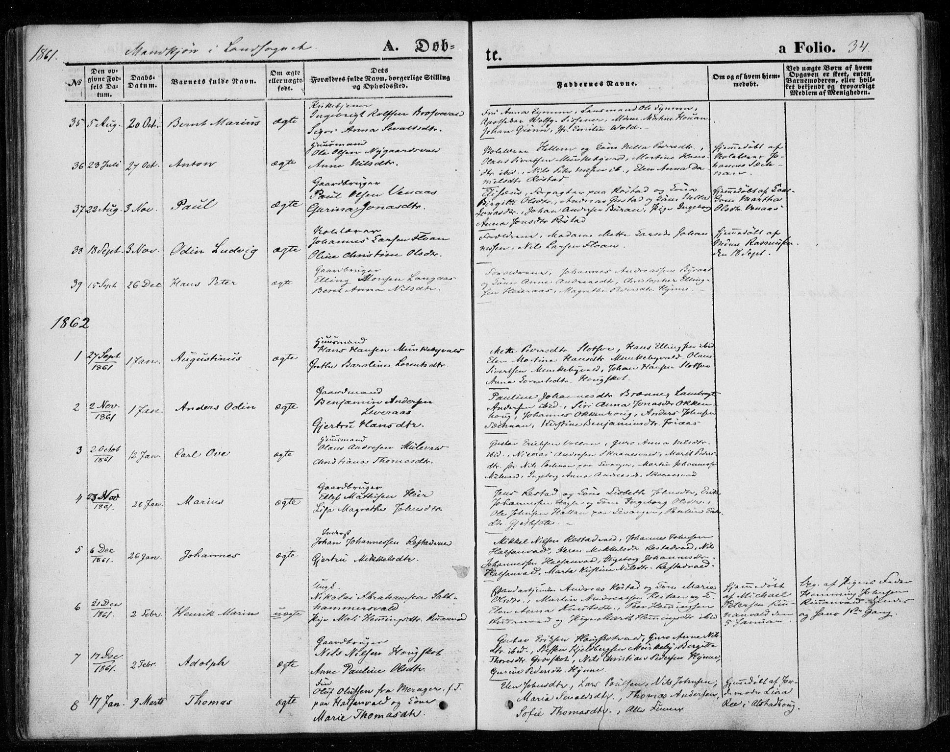 SAT, Ministerialprotokoller, klokkerbøker og fødselsregistre - Nord-Trøndelag, 720/L0184: Ministerialbok nr. 720A02 /2, 1855-1863, s. 34