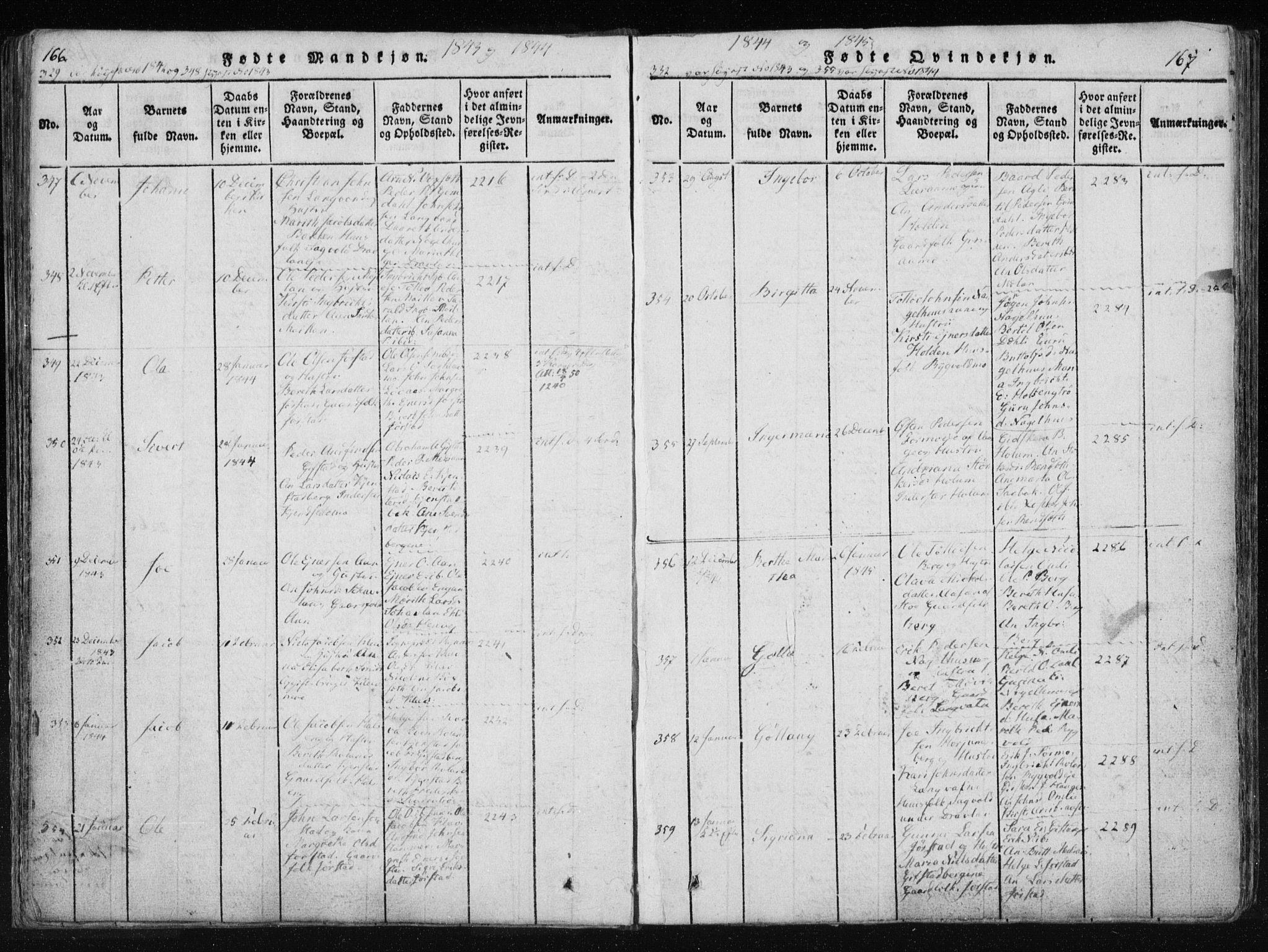 SAT, Ministerialprotokoller, klokkerbøker og fødselsregistre - Nord-Trøndelag, 749/L0469: Ministerialbok nr. 749A03, 1817-1857, s. 166-167