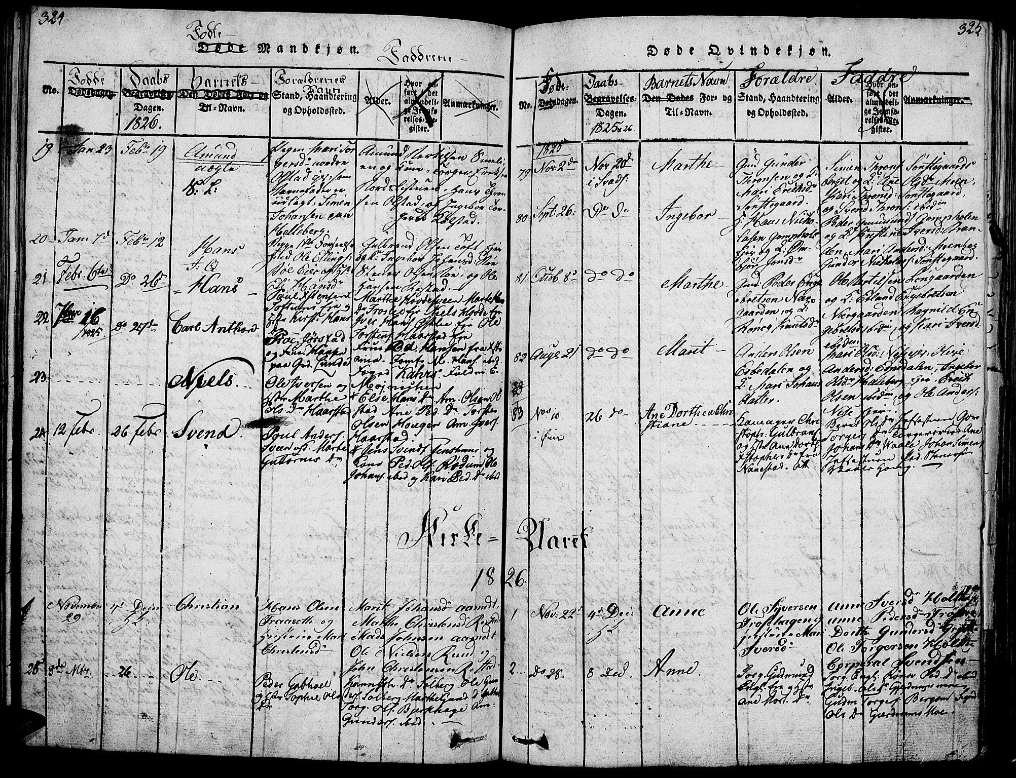 SAH, Gausdal prestekontor, Ministerialbok nr. 5, 1817-1829, s. 324-325